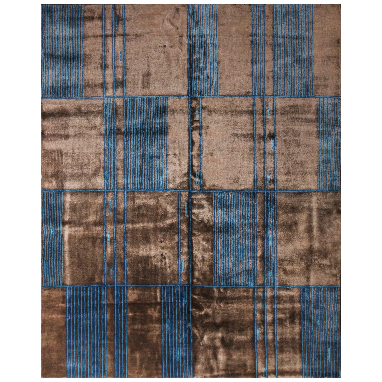 Rug & Kilim's Mid-Century Modern Geometric Brown and Blue Wool and Silk Rug