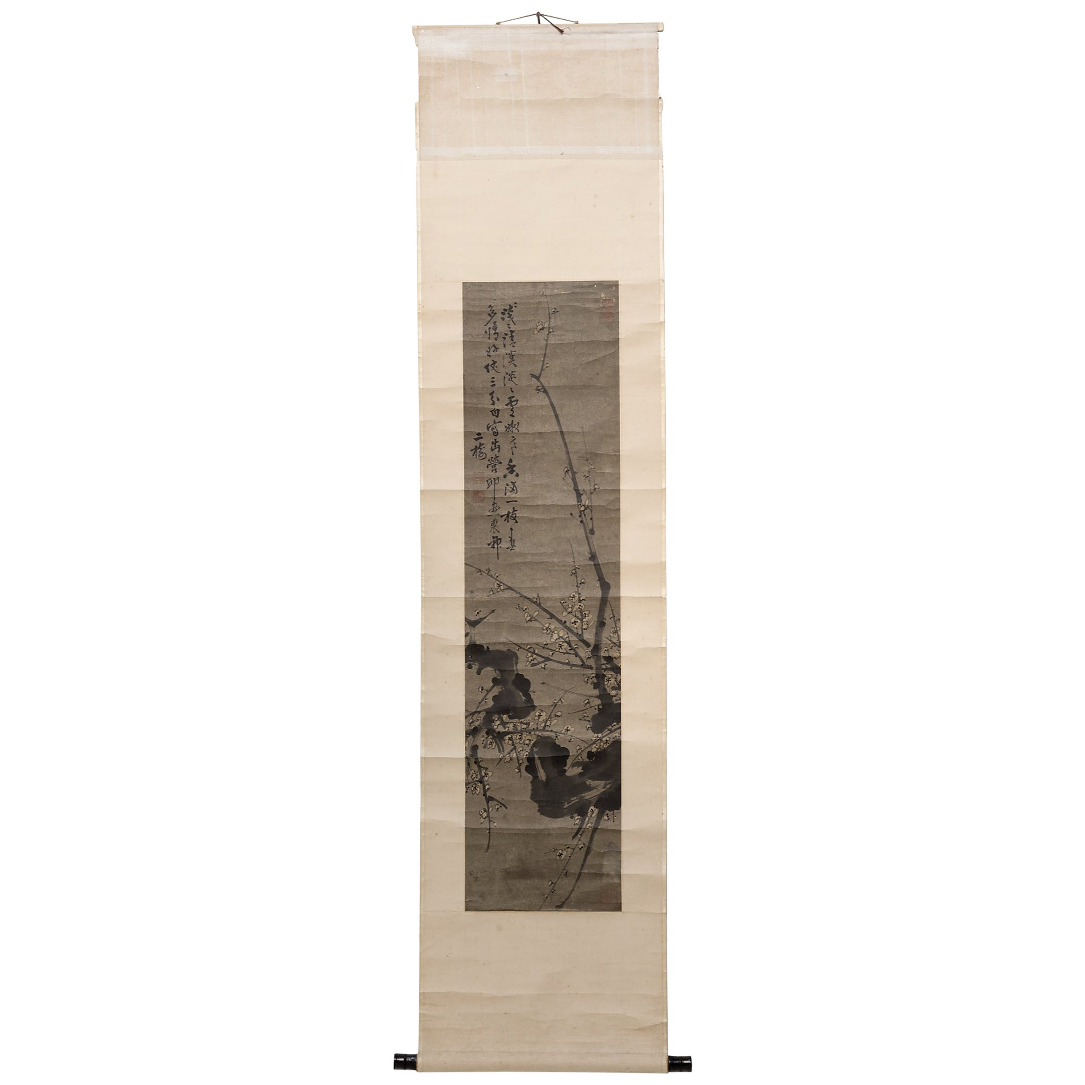 Chinese Hanging Scroll of Prunus Branches, circa 1850
