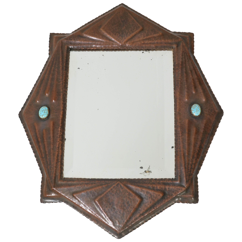 Brass Art Deco Amsterdam School Wall Mirror, 1920s