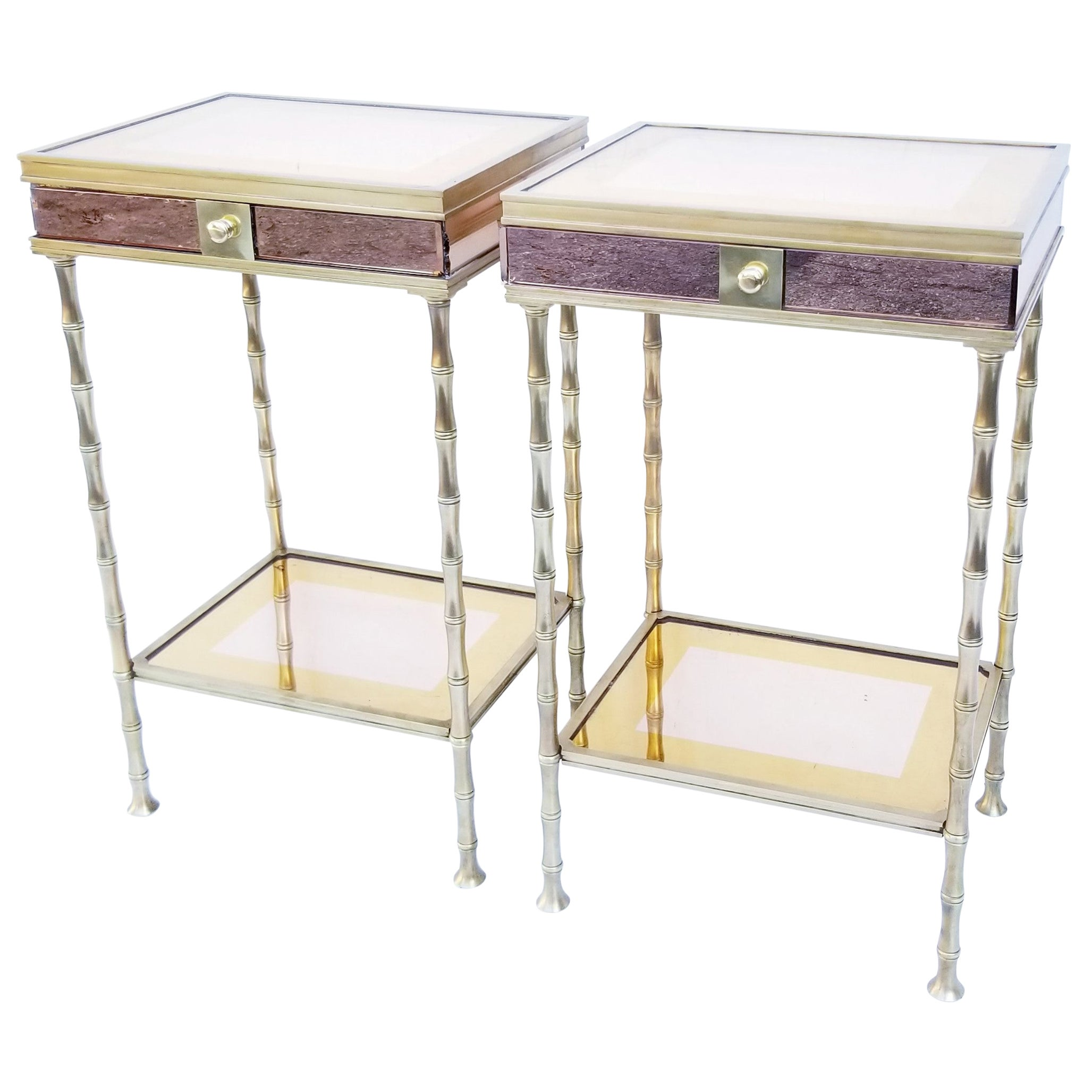Pair of Bronze and Two-Tone Mirrors Side Table