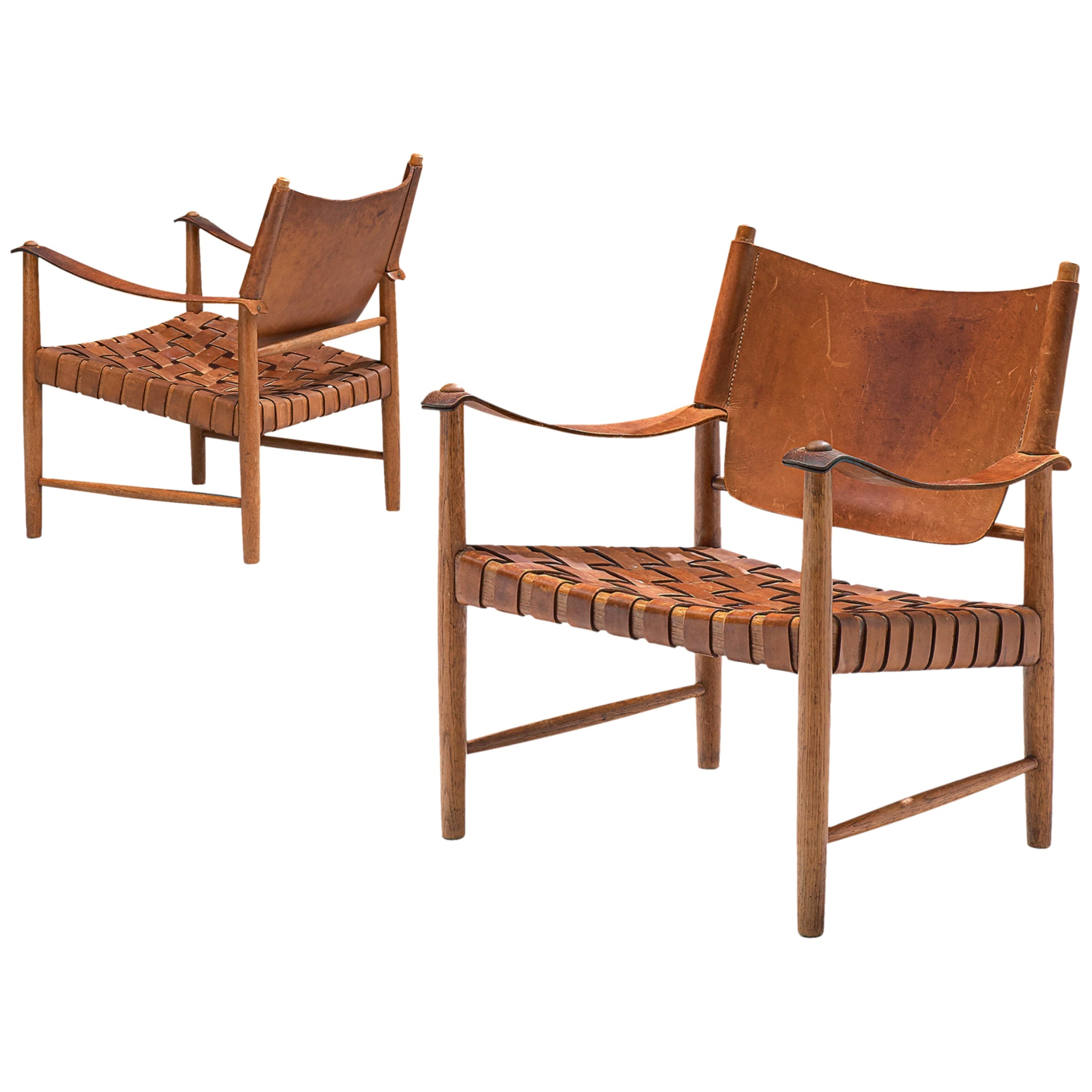 Patinated Cognac Leather Safari Chairs