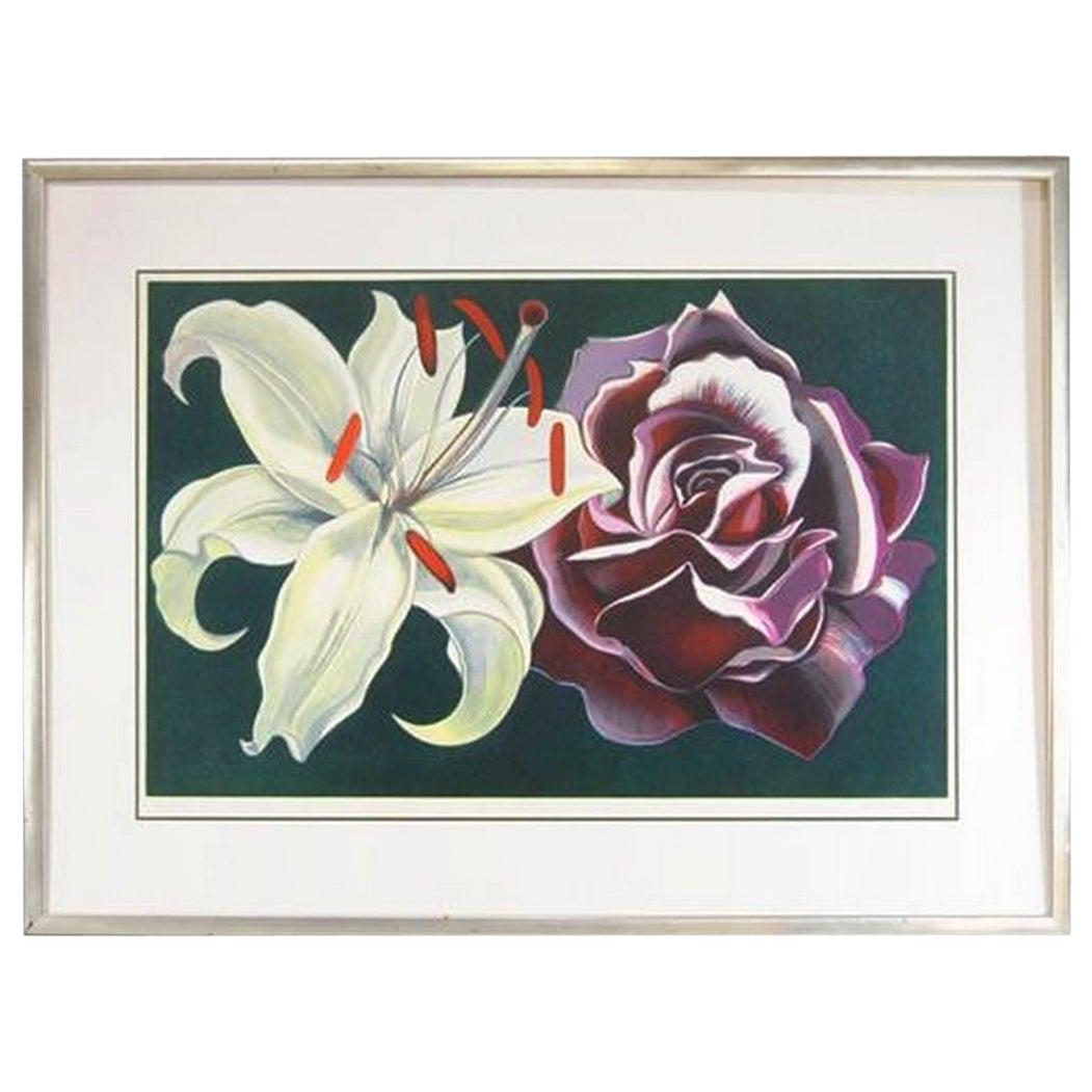 Limited Edition Print L. Nesbitt 1974 Lily & Rose Signed