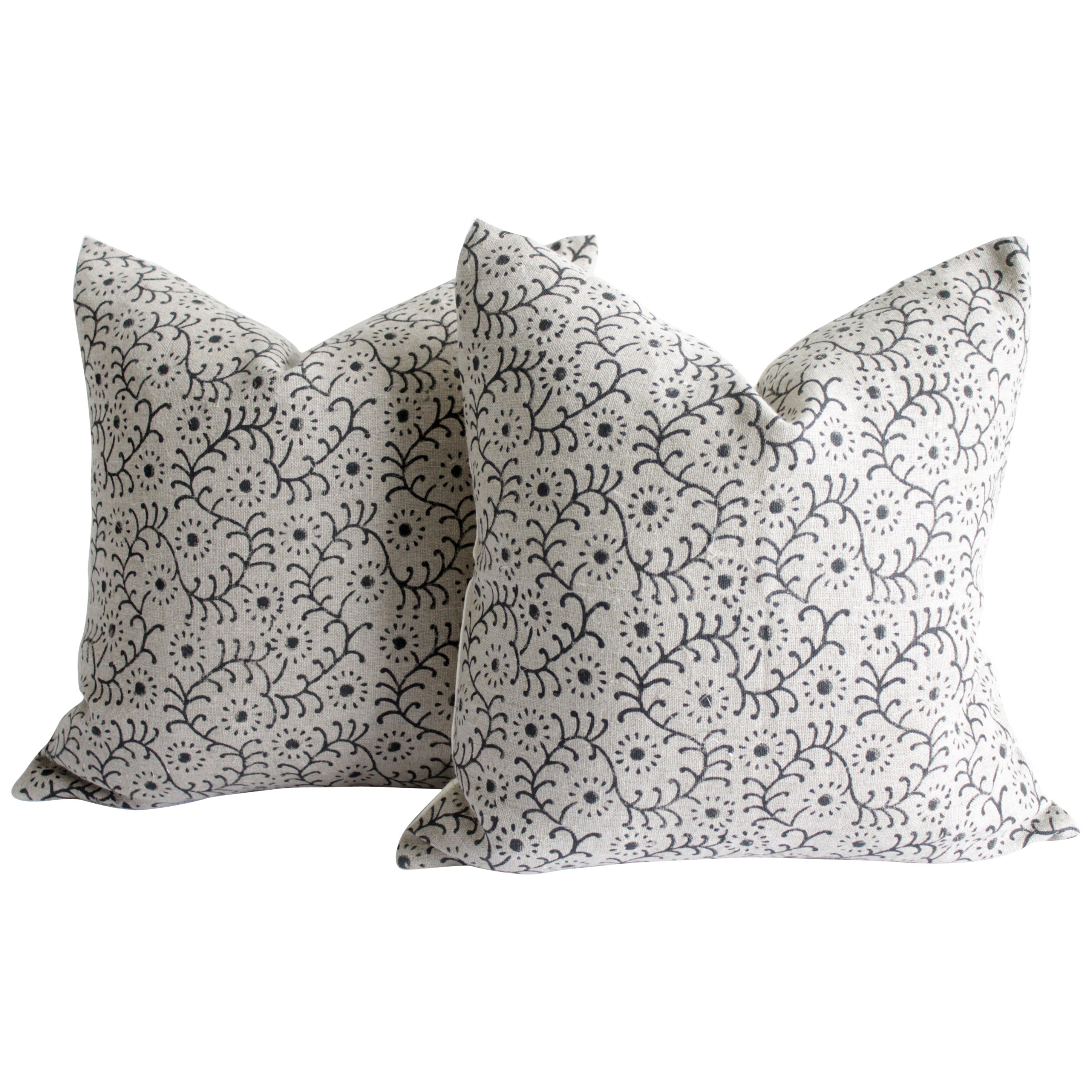Linen Hand Block Accent Pillow Covers Natural and Black