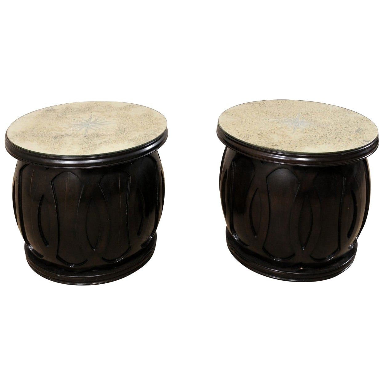 Drum Style Side Tables with Artisan Crafted Verre Églomisé Sunburst Mirror Tops