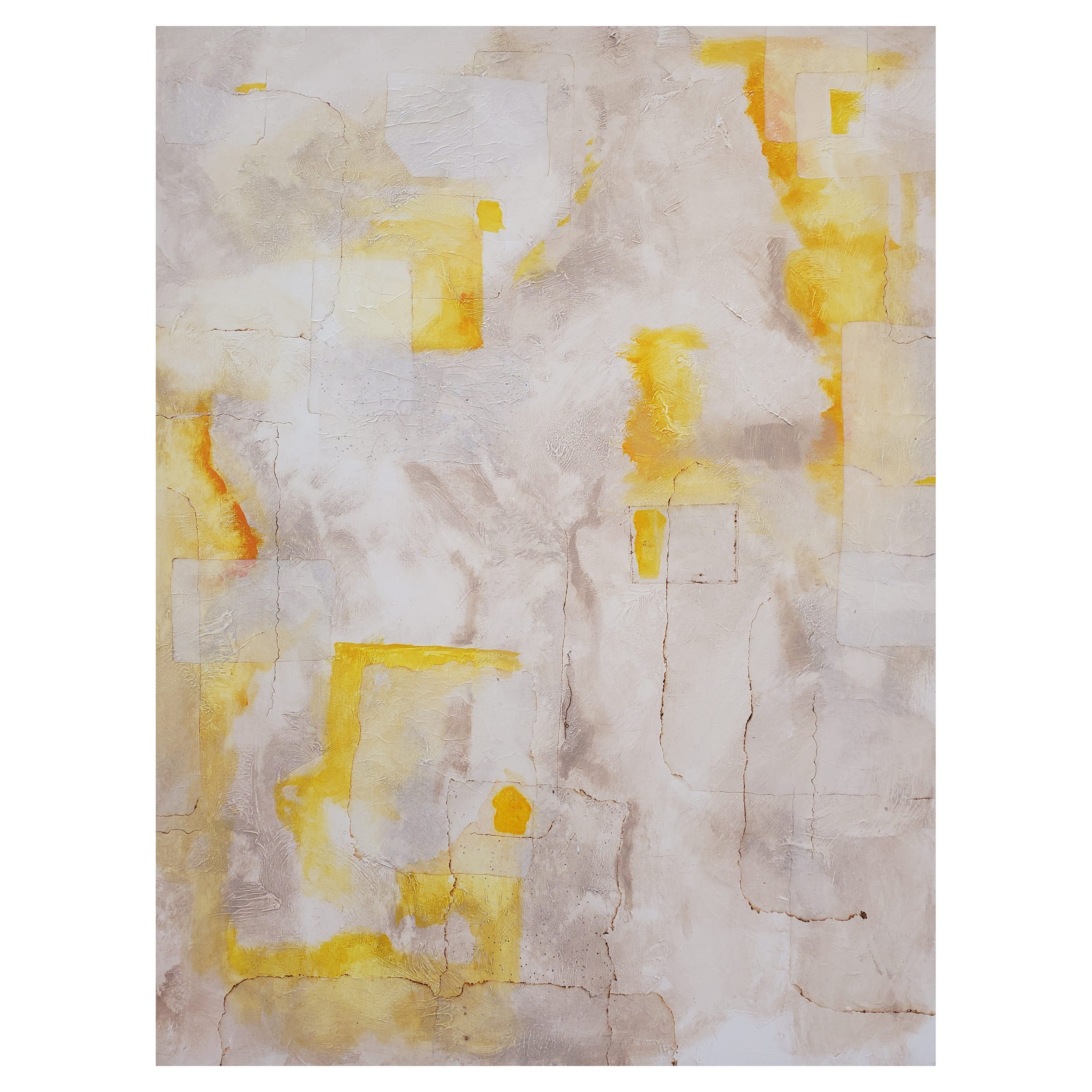 """""""Illusions"""" Abstract Mixed-Media on Canvas Painting, Yellow, Gray, White"""