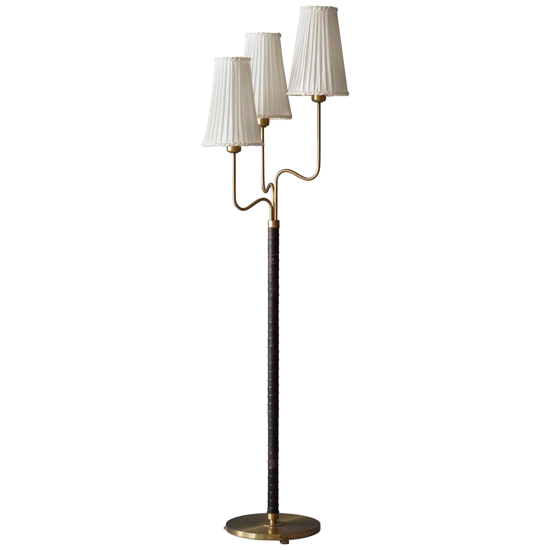 Hans Bergström, Rare Floor Lamp, Brass, Leather, Fabric, ASEA, Sweden, 1946
