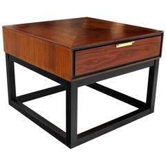 Walnut End Table on Black Frame Base