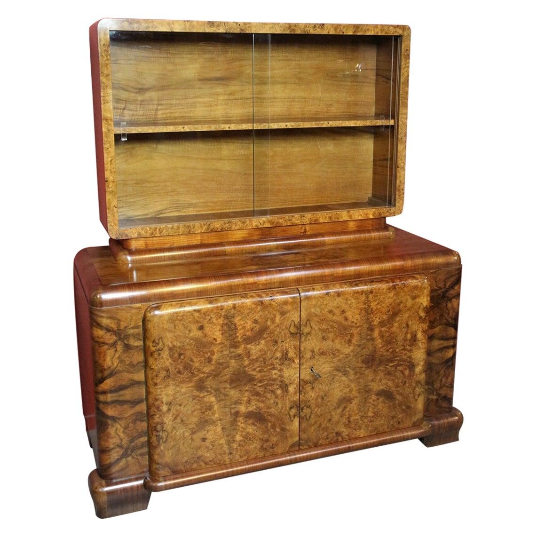 Original Art Deco Cabinet in Burr Walnut
