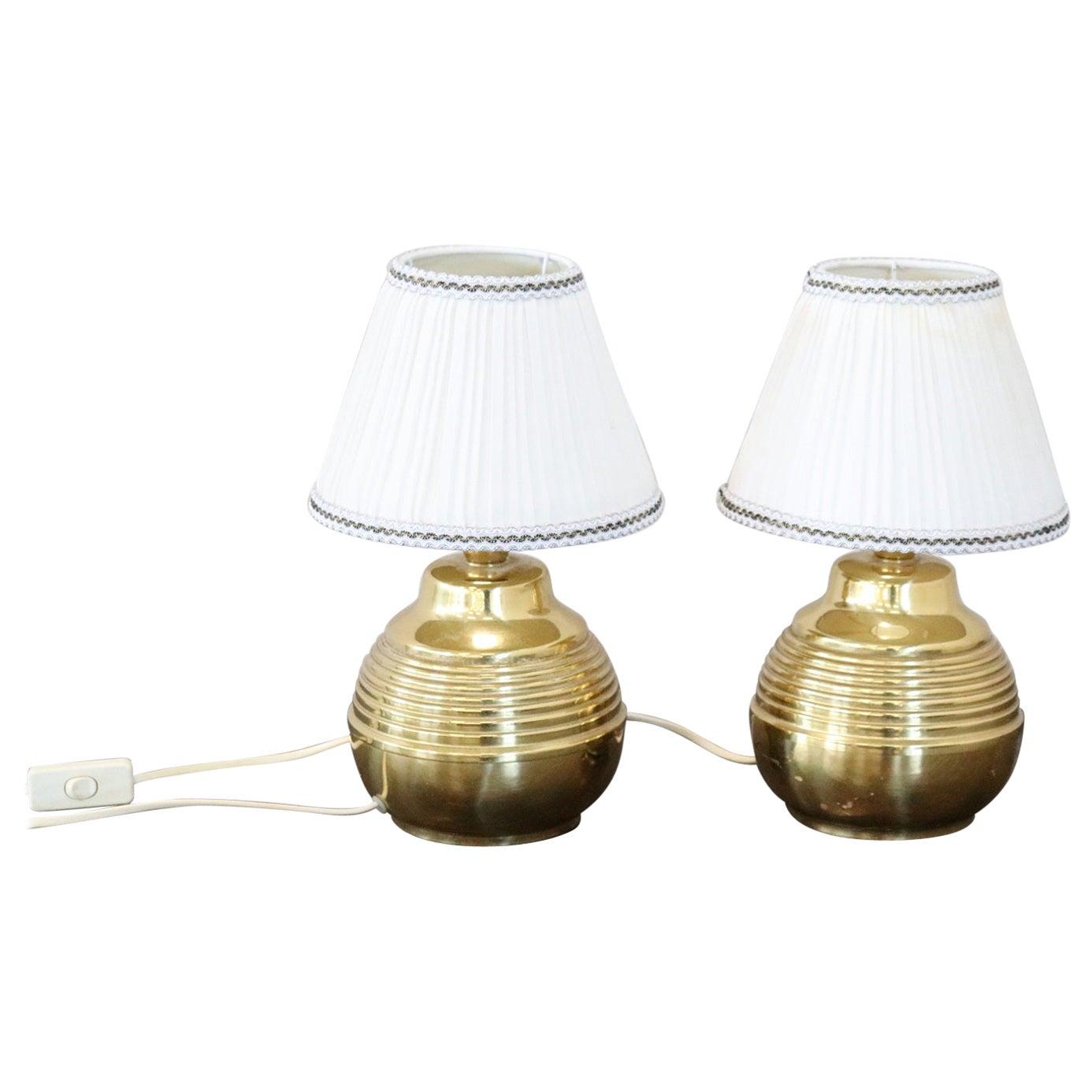 20th Century Italian Golden Brass Pair of Table Lamp