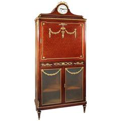 Gilt Bronze-Mounted Louis XVI Style, Parquetry Tall Cabinet by François Linke