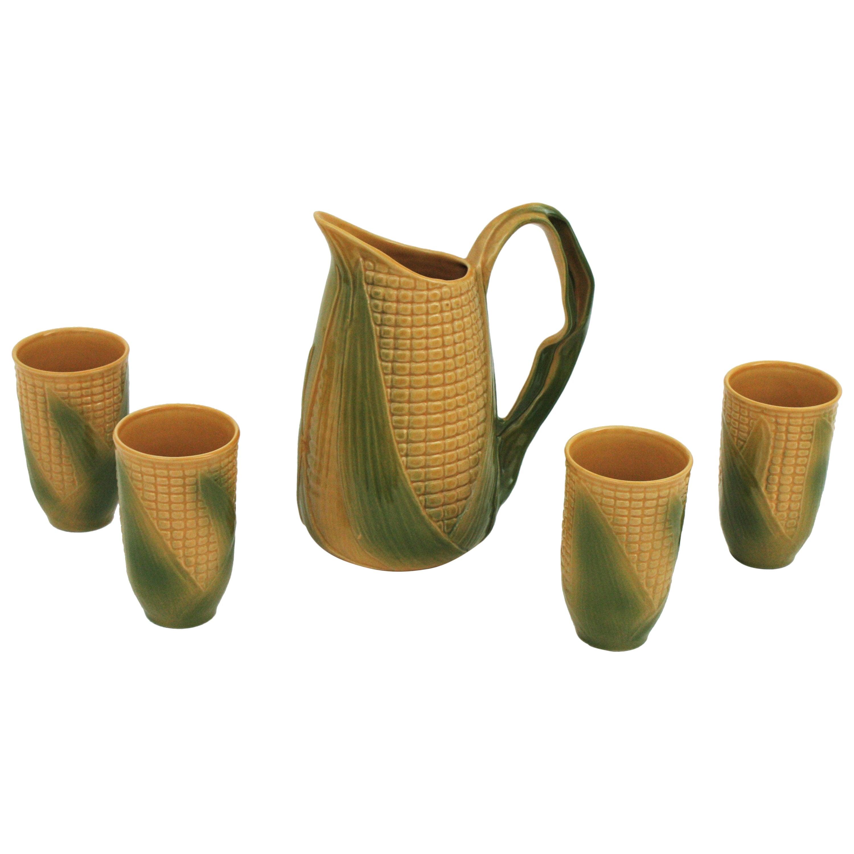 Set of Glazed Ceramic Corn on the Cob Glasses and Pitcher, France, 1960s