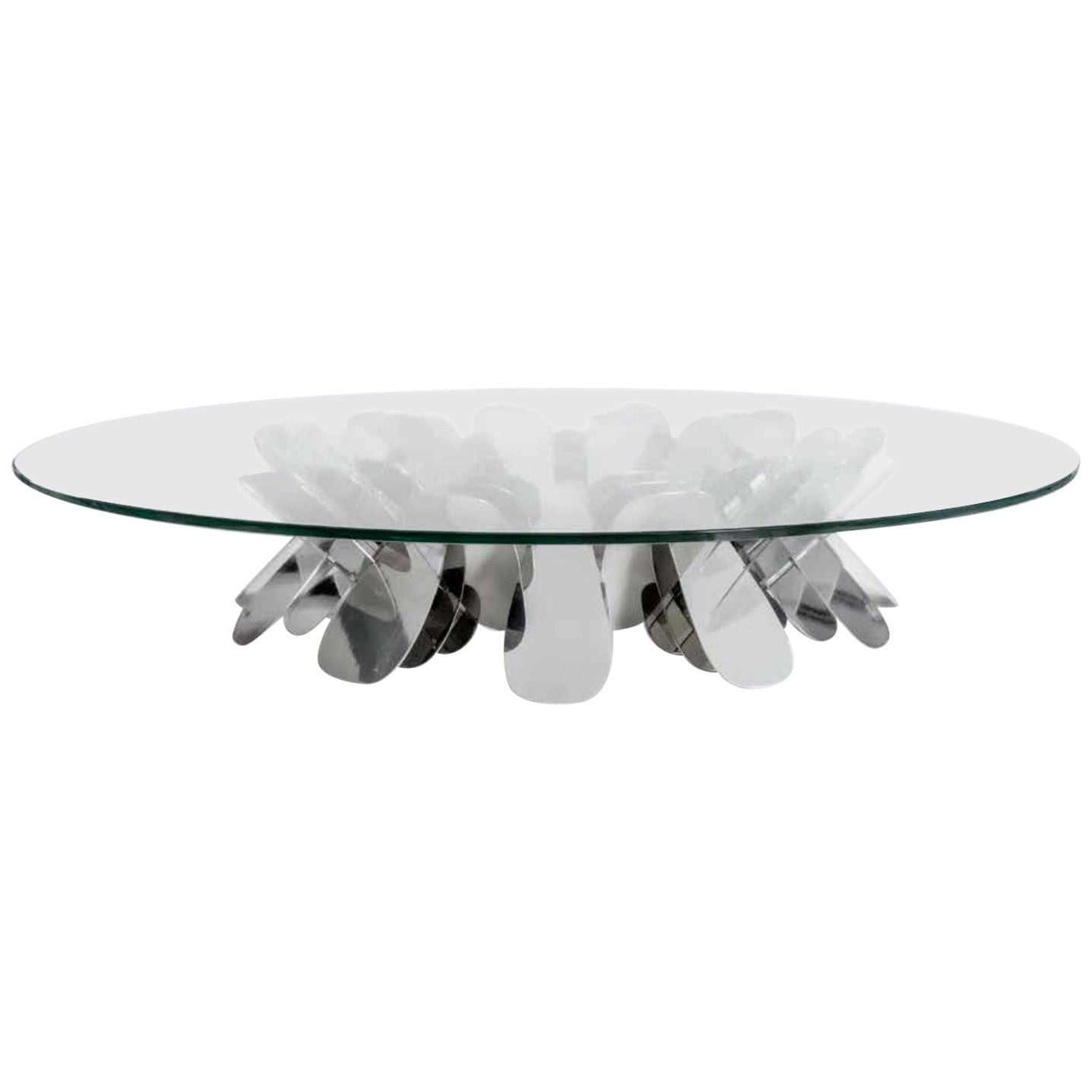 Contemporary Glass Center Table in Polished Stainless Steel