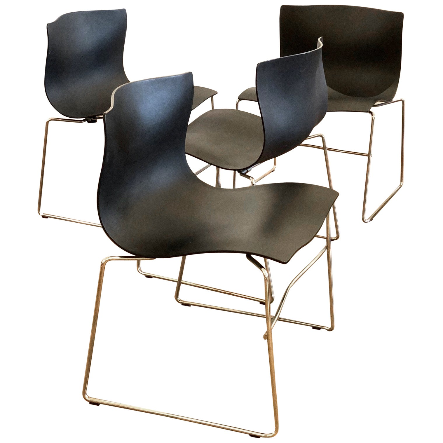 Set of 4 Handkerchief Chairs in Black & Chrome Designed by Vignelli for Knoll