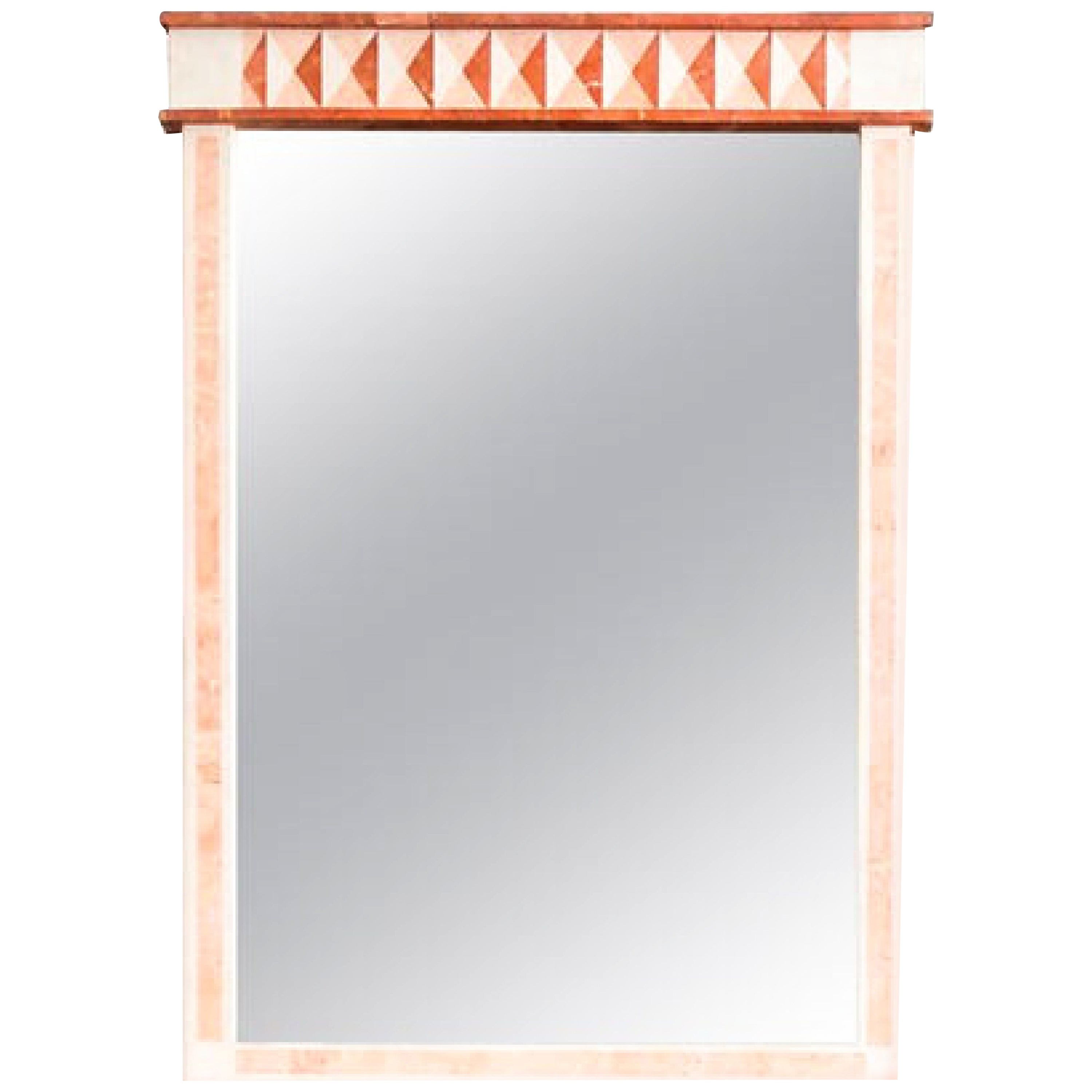 Vintage Neoclassical Postmodern Maitland-Smith Marble Wall Mirror, Tessellated