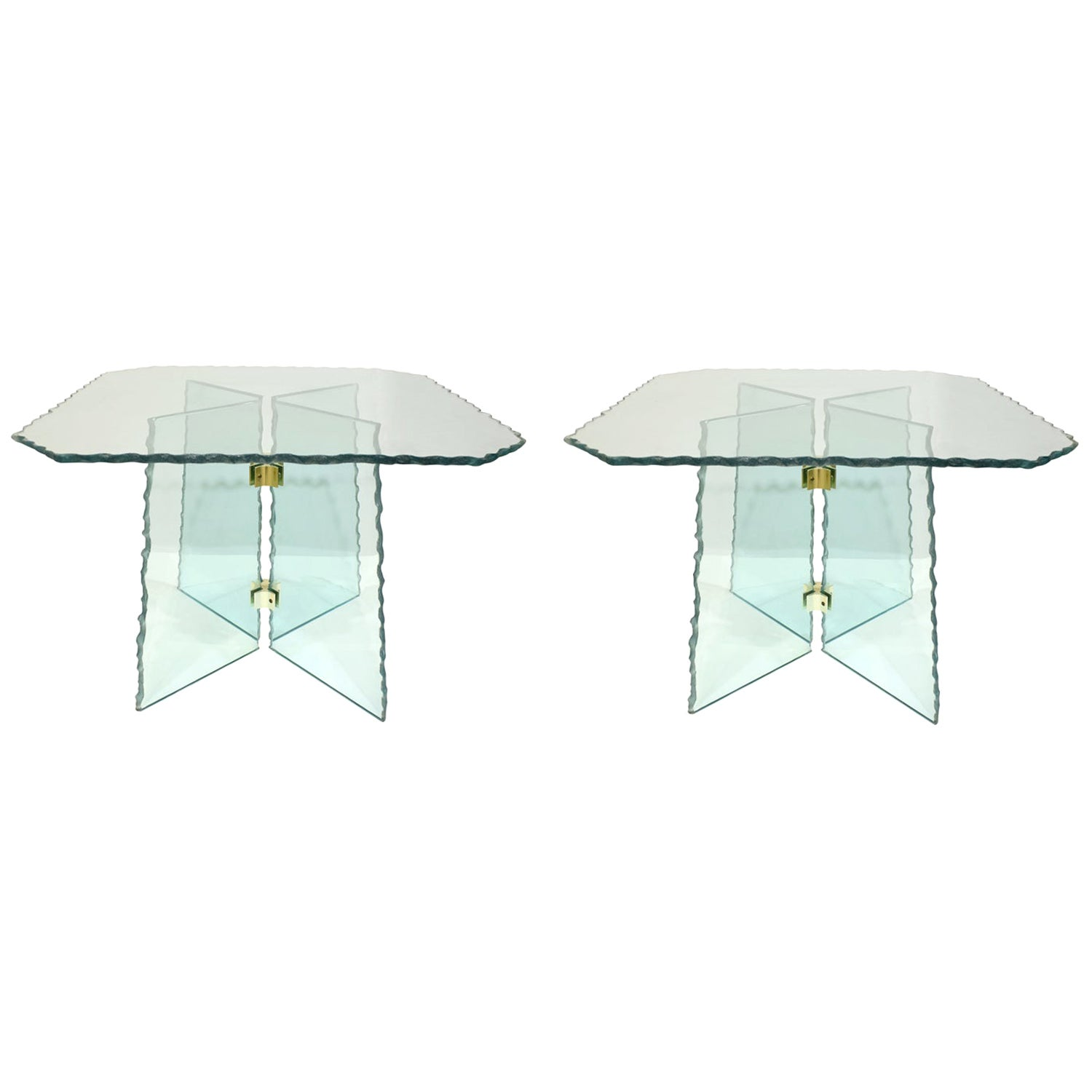 Pair of Large Artisan Italian Glass End Tables, 1970s