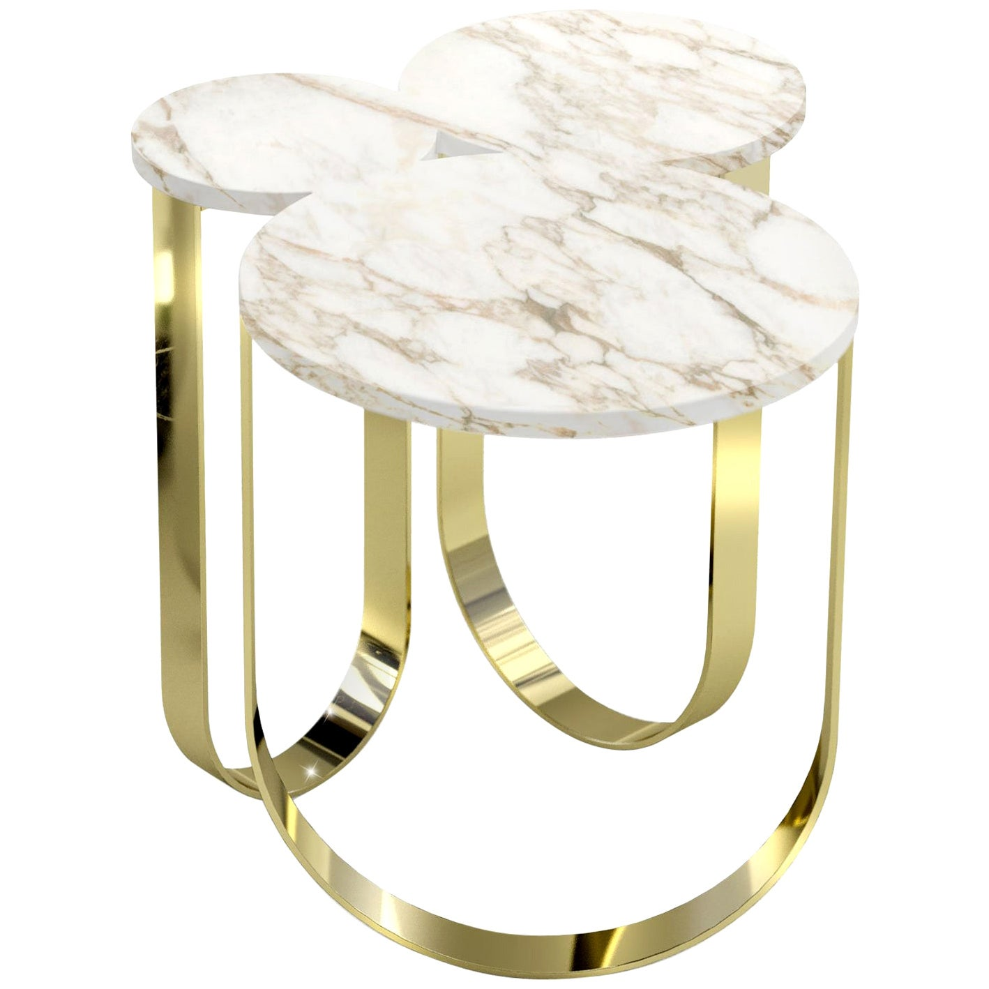 Side Table Modern Marble Brass White Italian Limited Edition Design