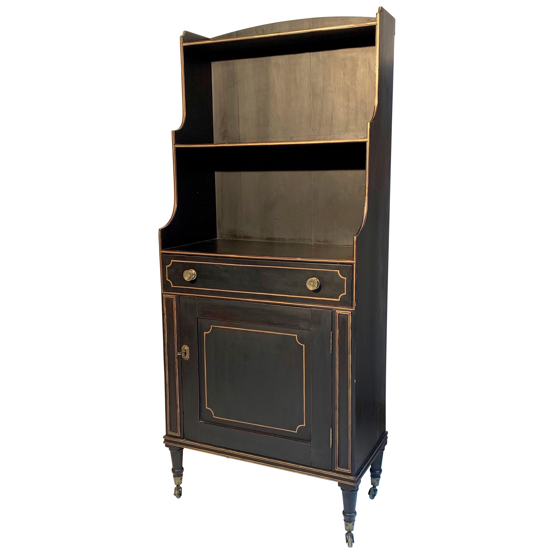 Antique Regency Open Bookcase Cabinet Beechwood, England, 1815
