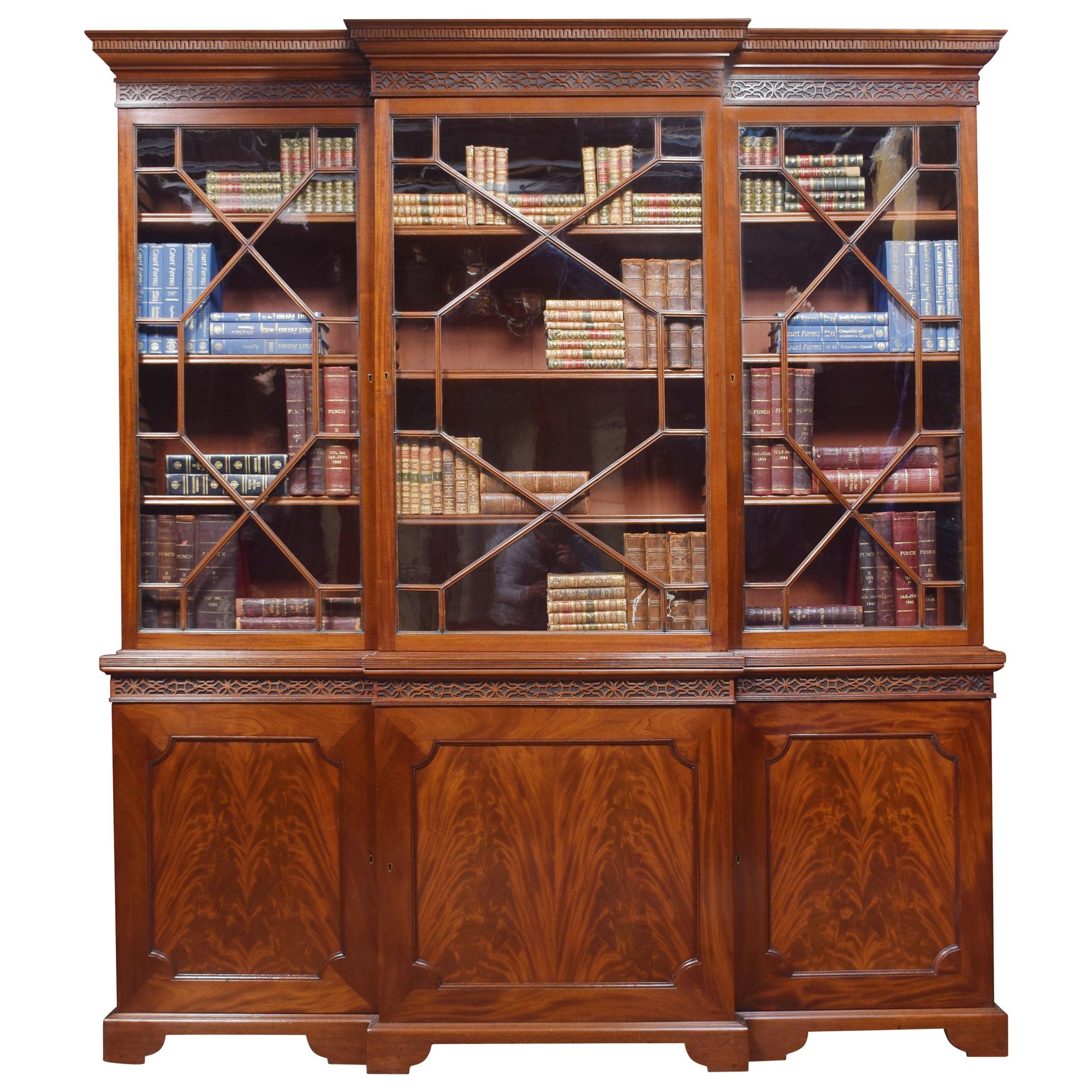 Mahogany Three-Door Breakfront Library Bookcase