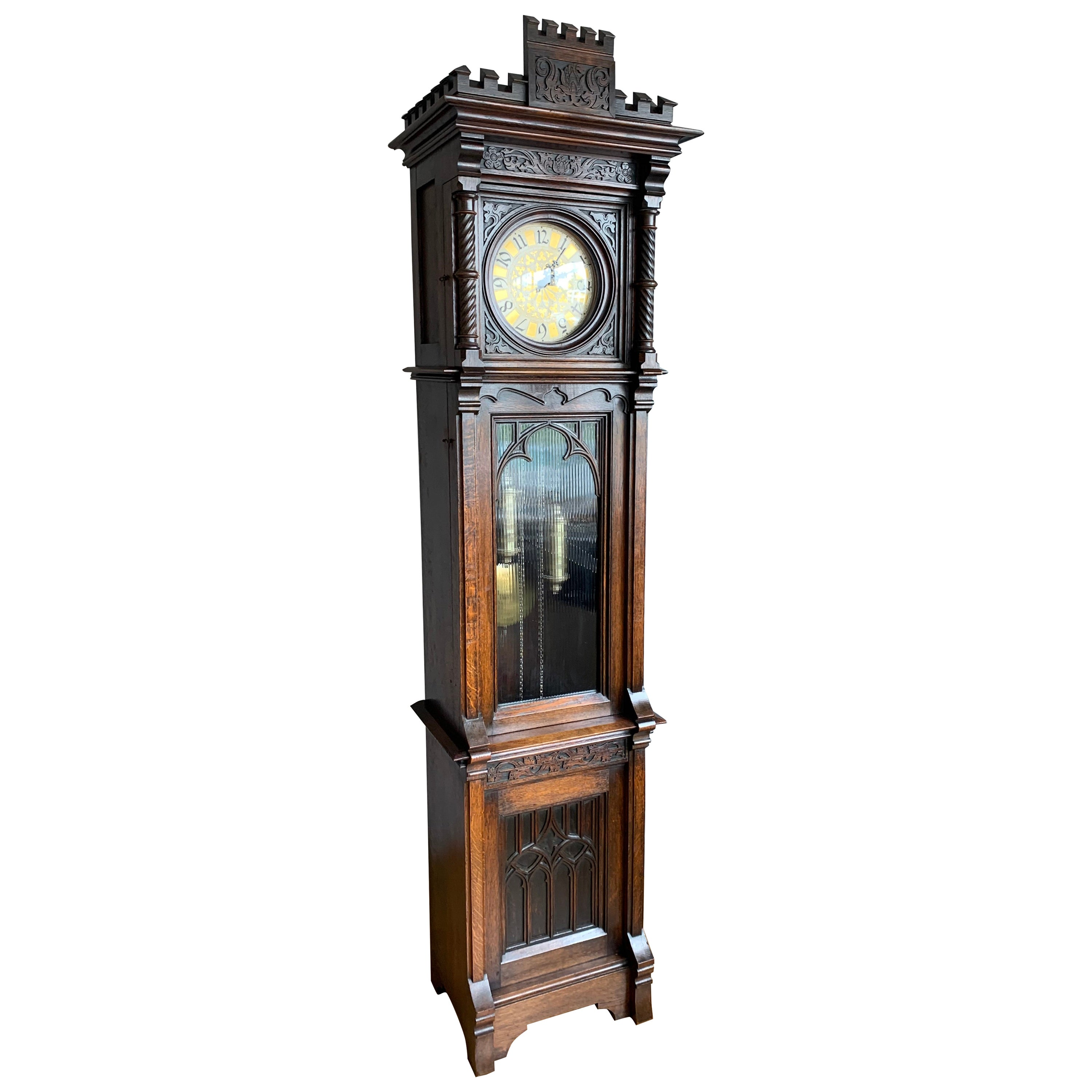 Antique and Unique, Hand Carved Gothic Revival Grandfather or Longcase Clock