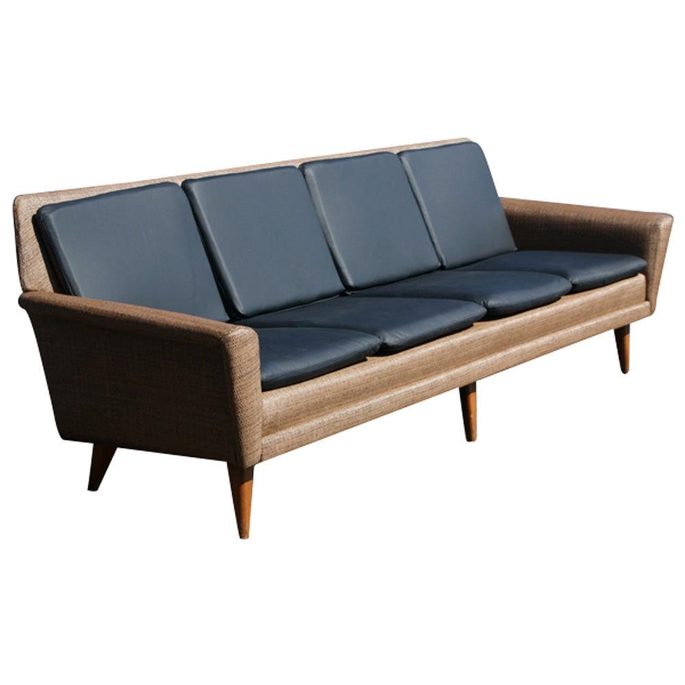 Swedish Dux Leather Sofa by Folke Ohlsson