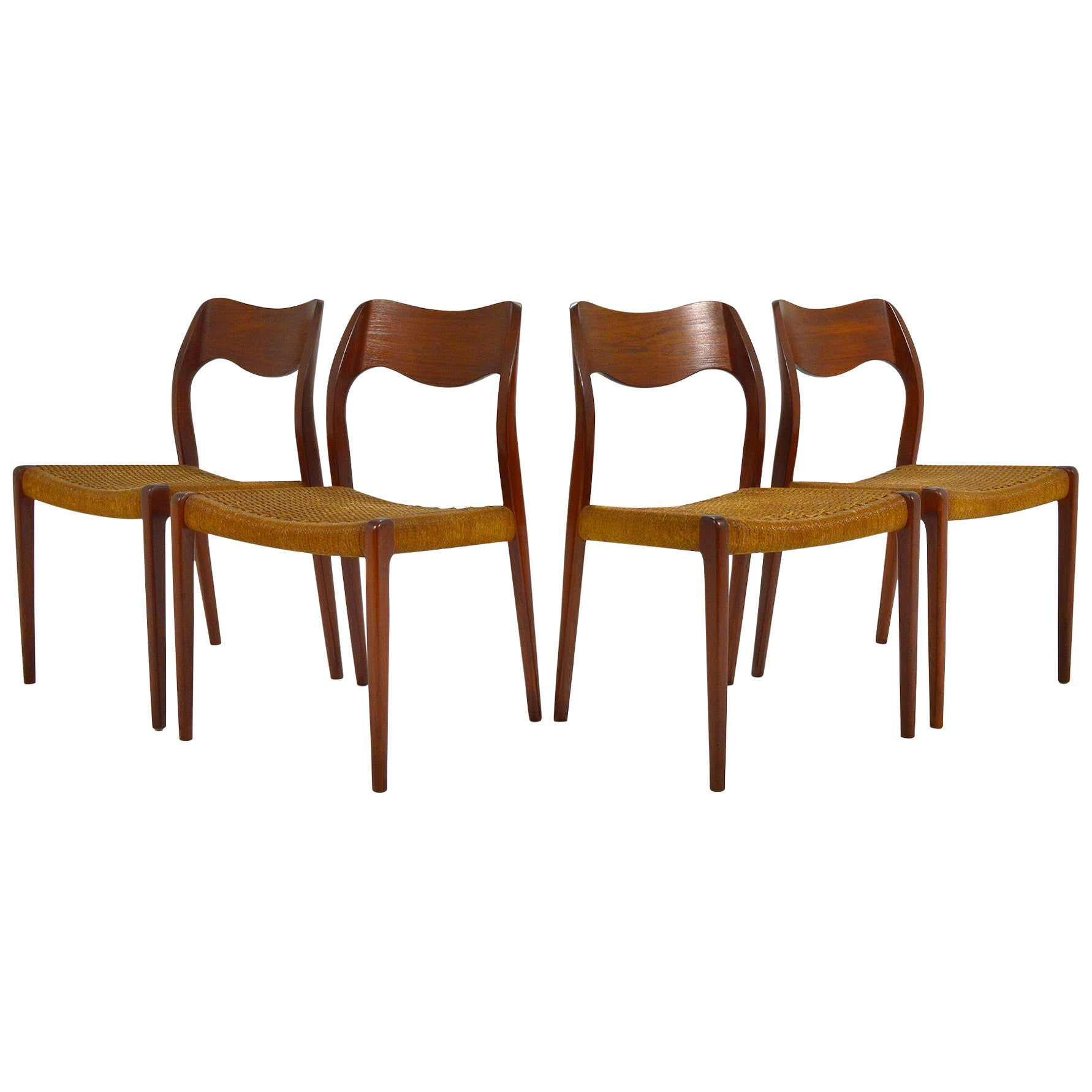 Niels O. Møller Dining Chairs Model 71 by J.L. Møllers Møbelfabrik