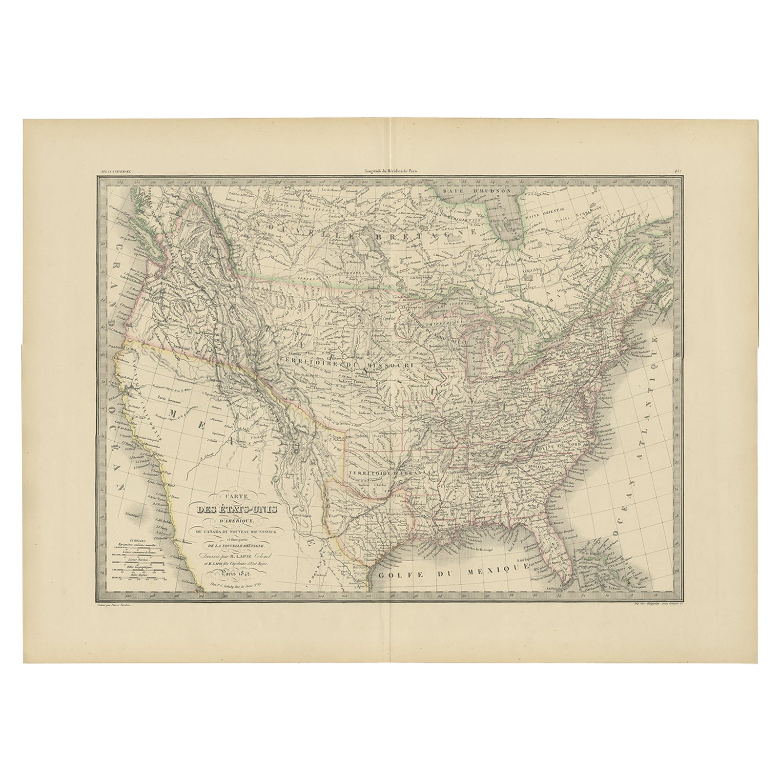 Antique Map of the United States of America by Lapie '1842'