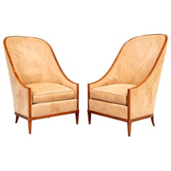 Fine Pair of John Widdicomb High-Back Lounge Chairs