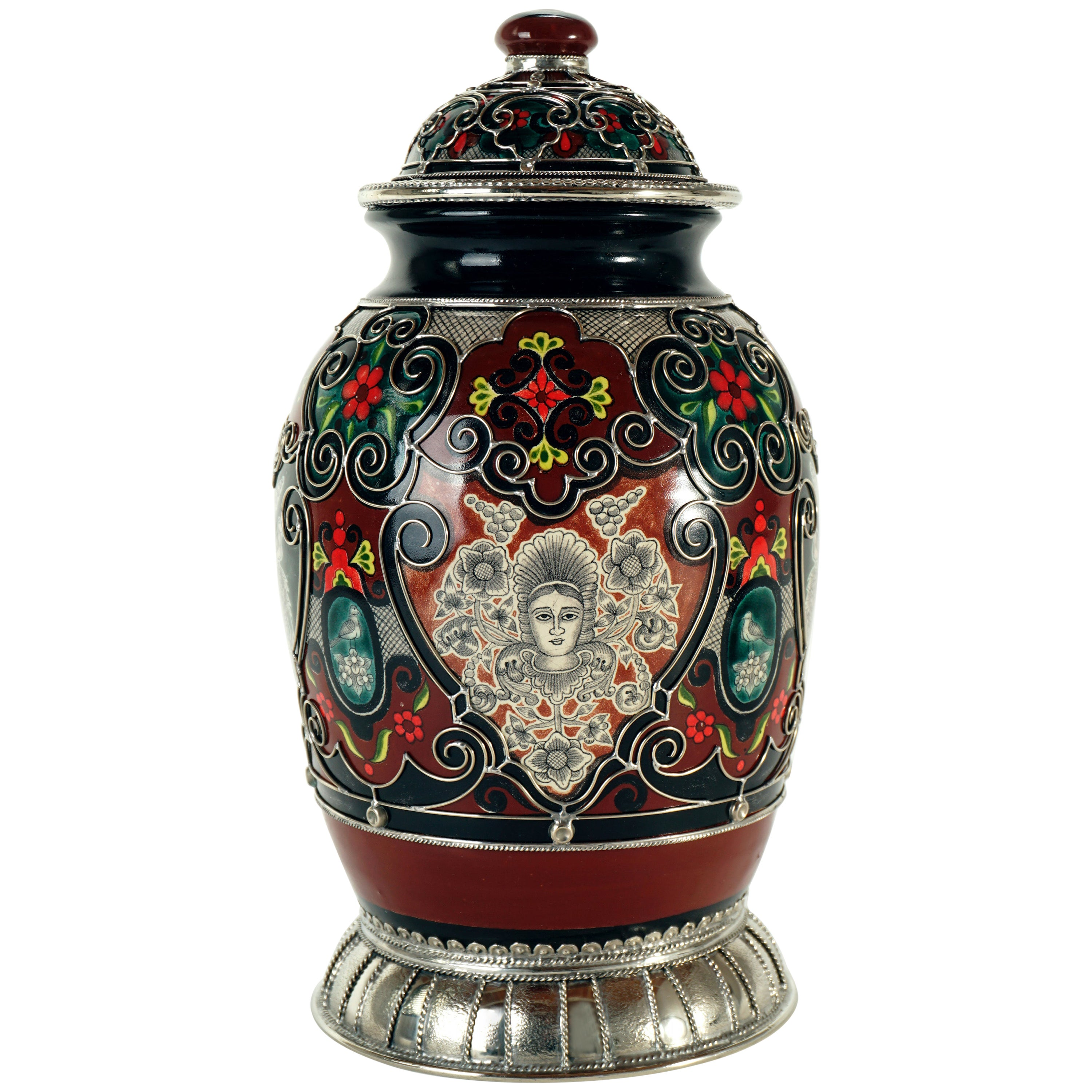 Ceramic and White Metal 'Alpaca' Jar with Hand Painted Motives