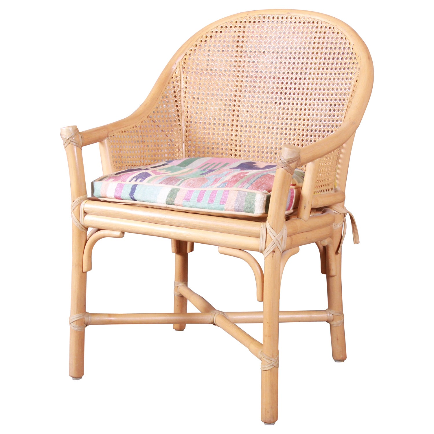 McGuire Hollywood Regency Organic Modern Bamboo and Cane Club Chair