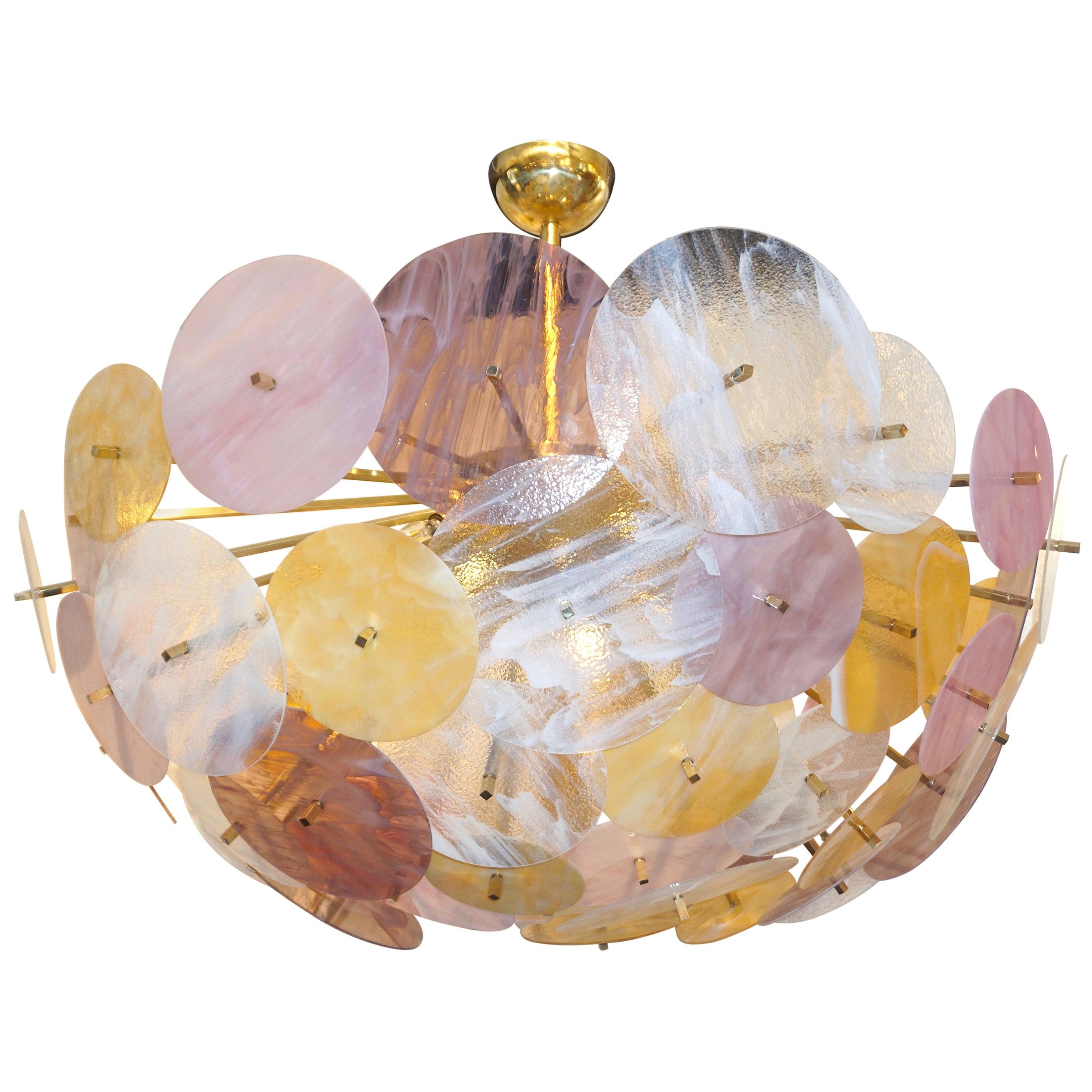 Contemporary Italian Yellow White Rose Pink Murano Glass Oval Sputnik Flushmount