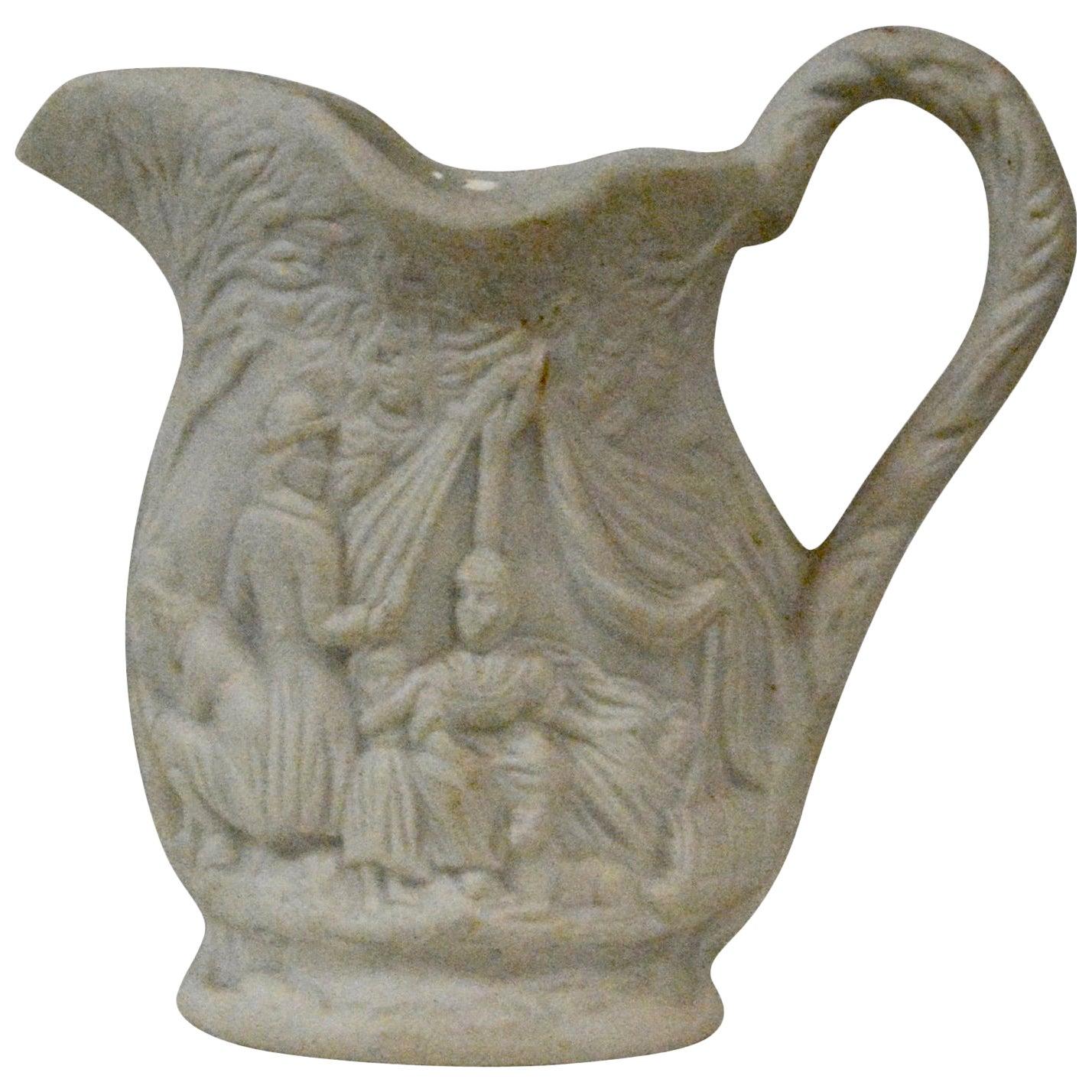 Parian Ware Earthenware Pitcher, circa 1850s