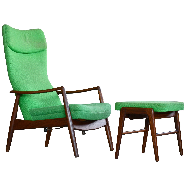 Madsen & Schubell Reclining Teak Lounge Chair with Ottoman, Denmark, circa 1960
