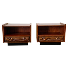 Pair of Oceanic Sculpted Walnut Nightstands by Pulaski Furniture Co., circa 1969