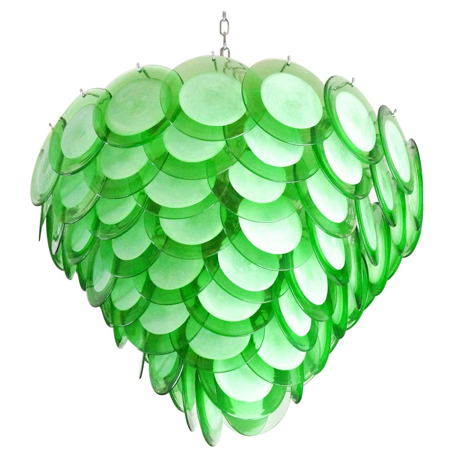 "Vistosi Mid-Century Modern Green Murano Glass Chandelier ""Disks"", 1972"