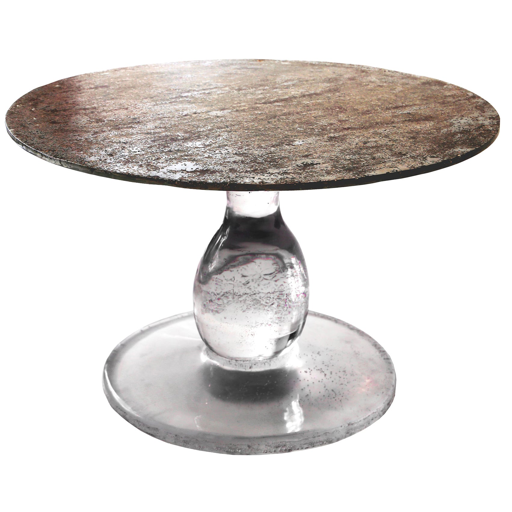 """Pedestal Table Star Dust """"Lowtide"""", Melted Pewter, Coral Design, Resin"""