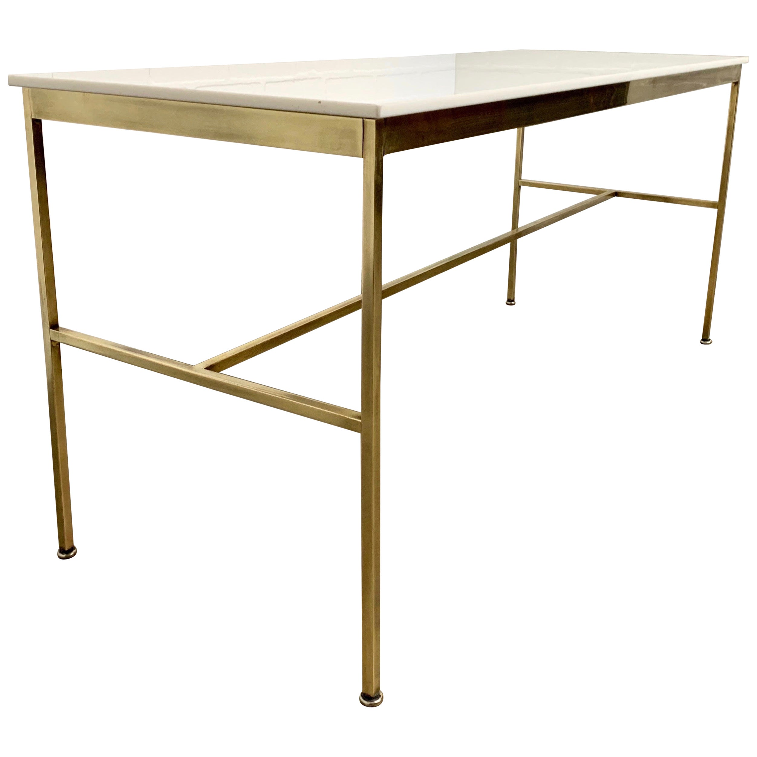 Brass and Vitrolite Console Table by Paul McCobb