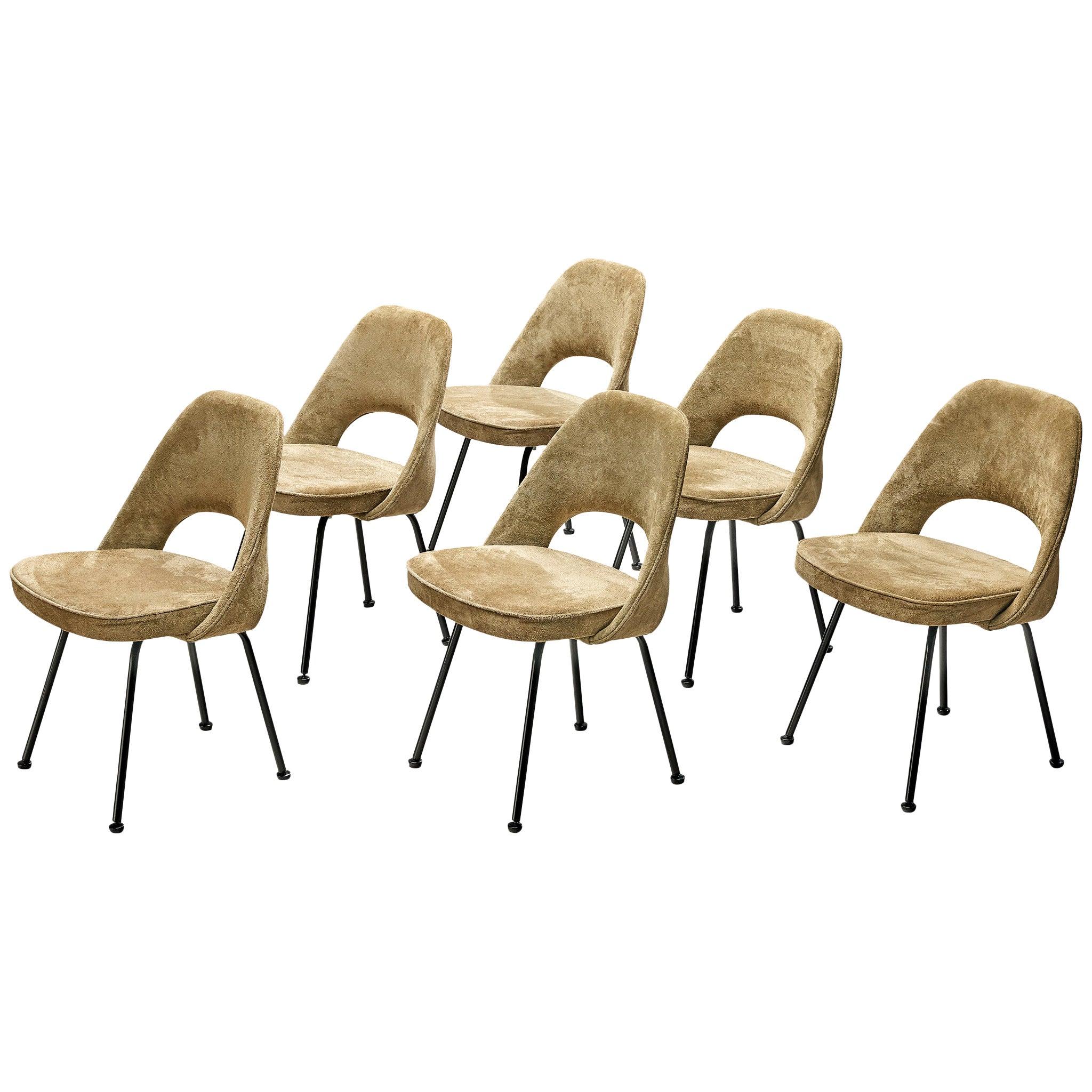 """Eero Saarinen """"Model 72"""" Chairs in Taupe Suede"""