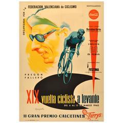 Original Vintage Cycling Tour Poster for the XIX Vuelta Ciclista a Levante 1960