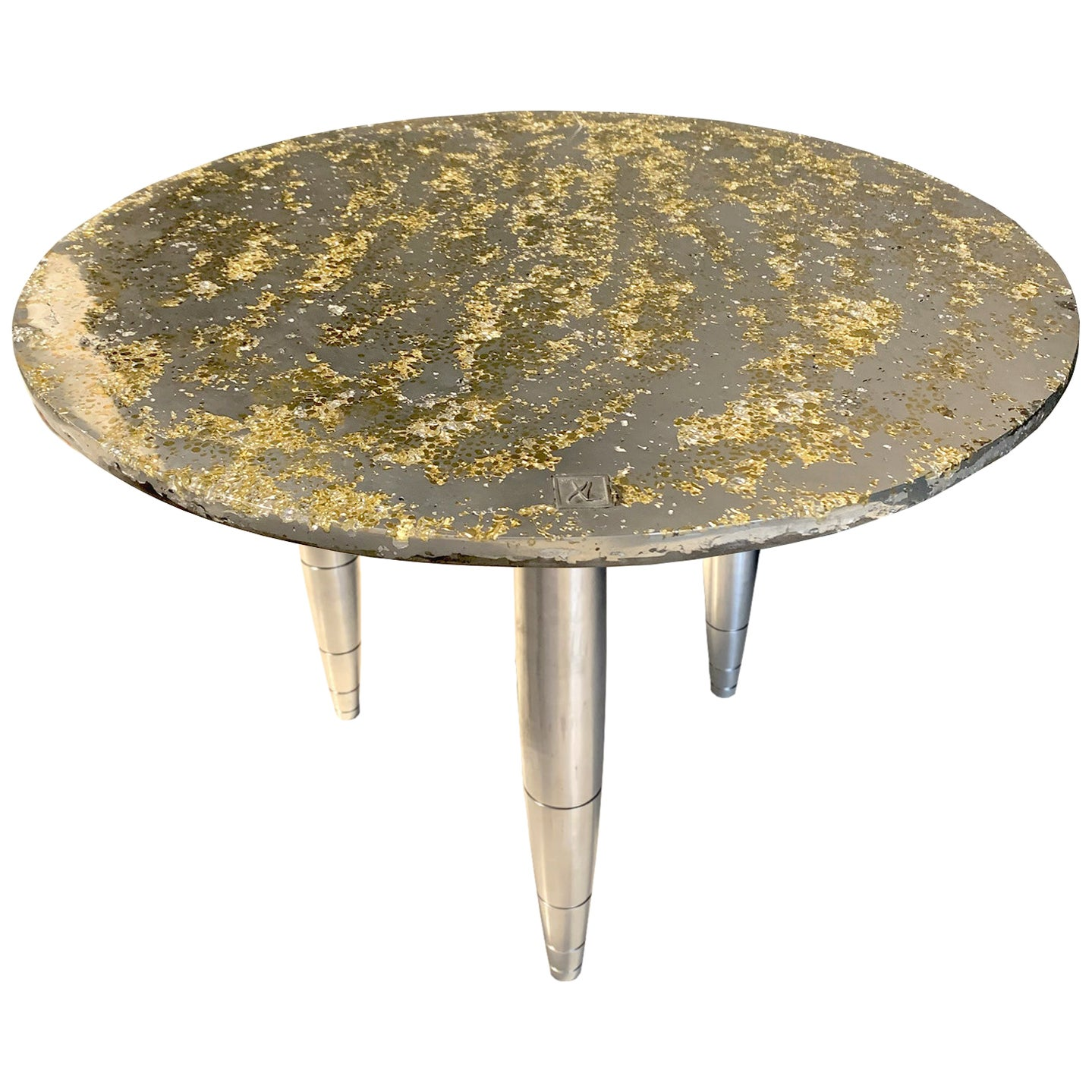 "Side Table Star Dust ""Sun light"", Melted Pewter, Brass Grains, Crystal Resin"