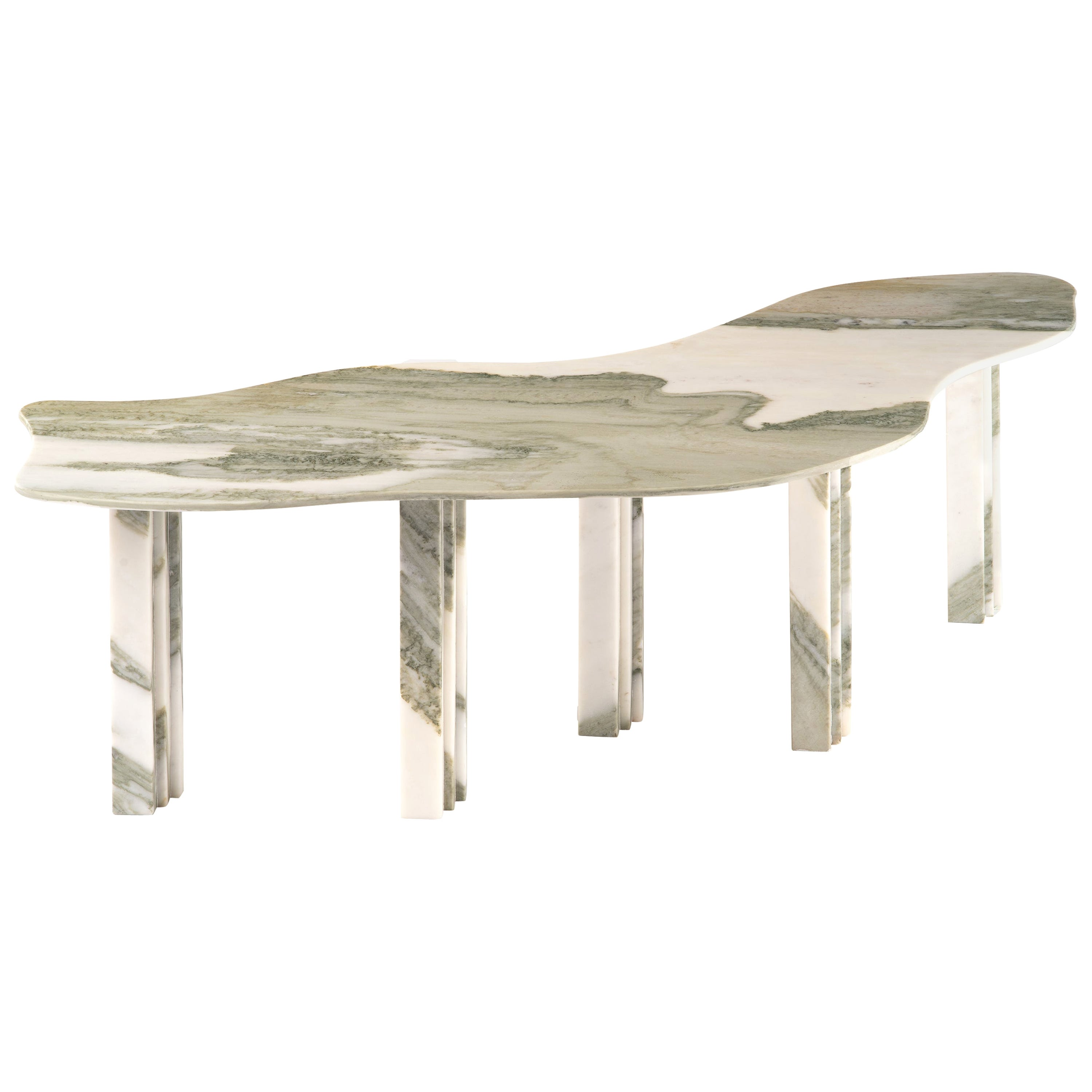 Bicolor Sculptural Dining Marble Table Signed by Lorenzo Bini