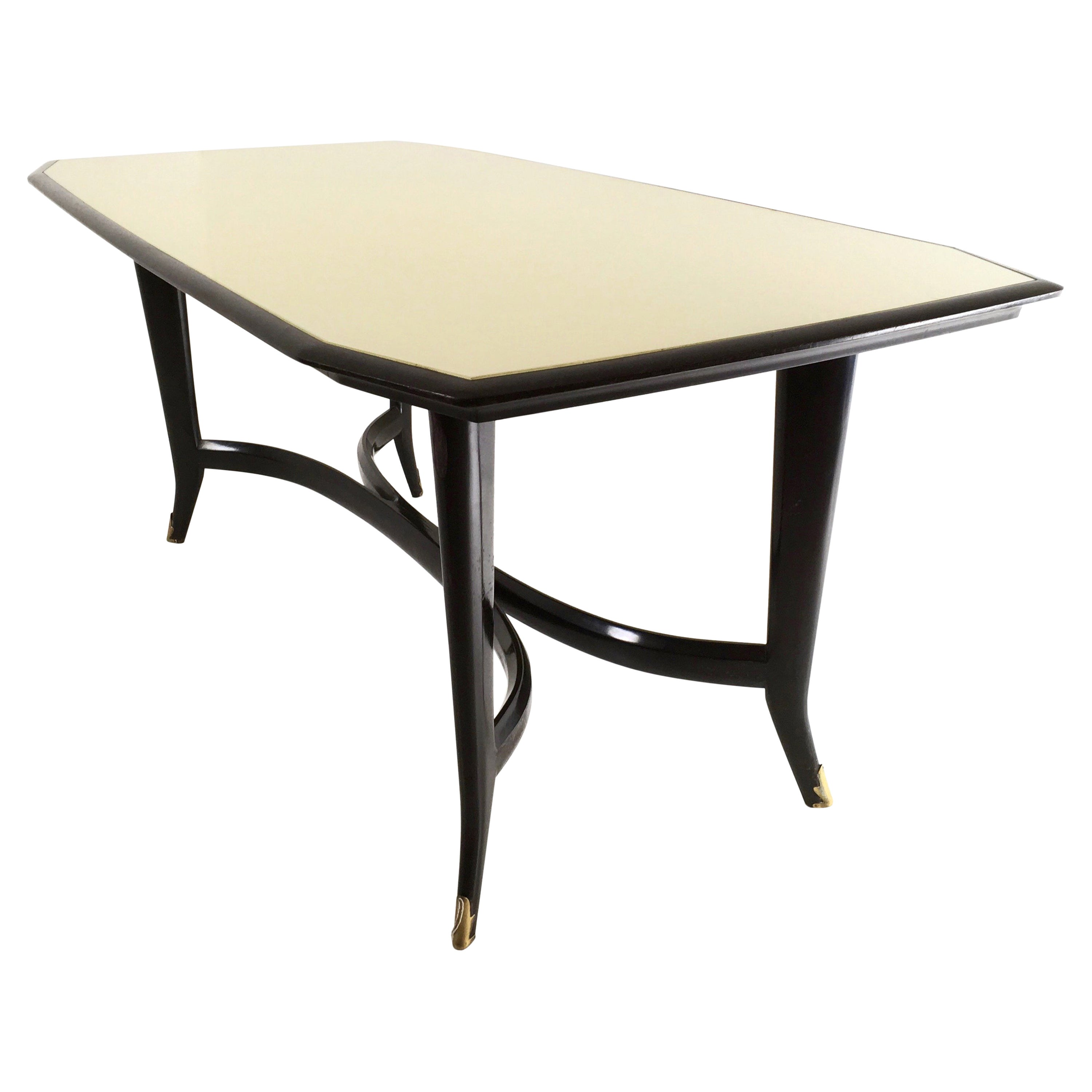 Ebonized Beech Dining Table ascribable to Ulrich with a Glass Top, Italy