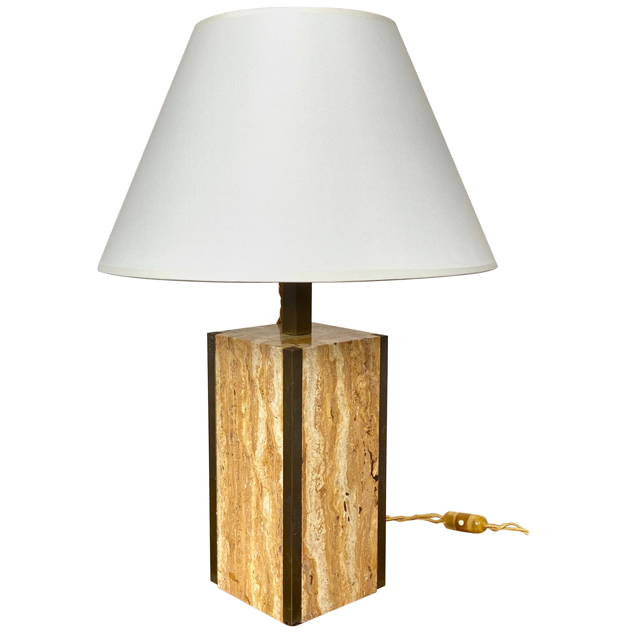 Travertine Walnut and Brass Table Lamp, Italy, 1970s