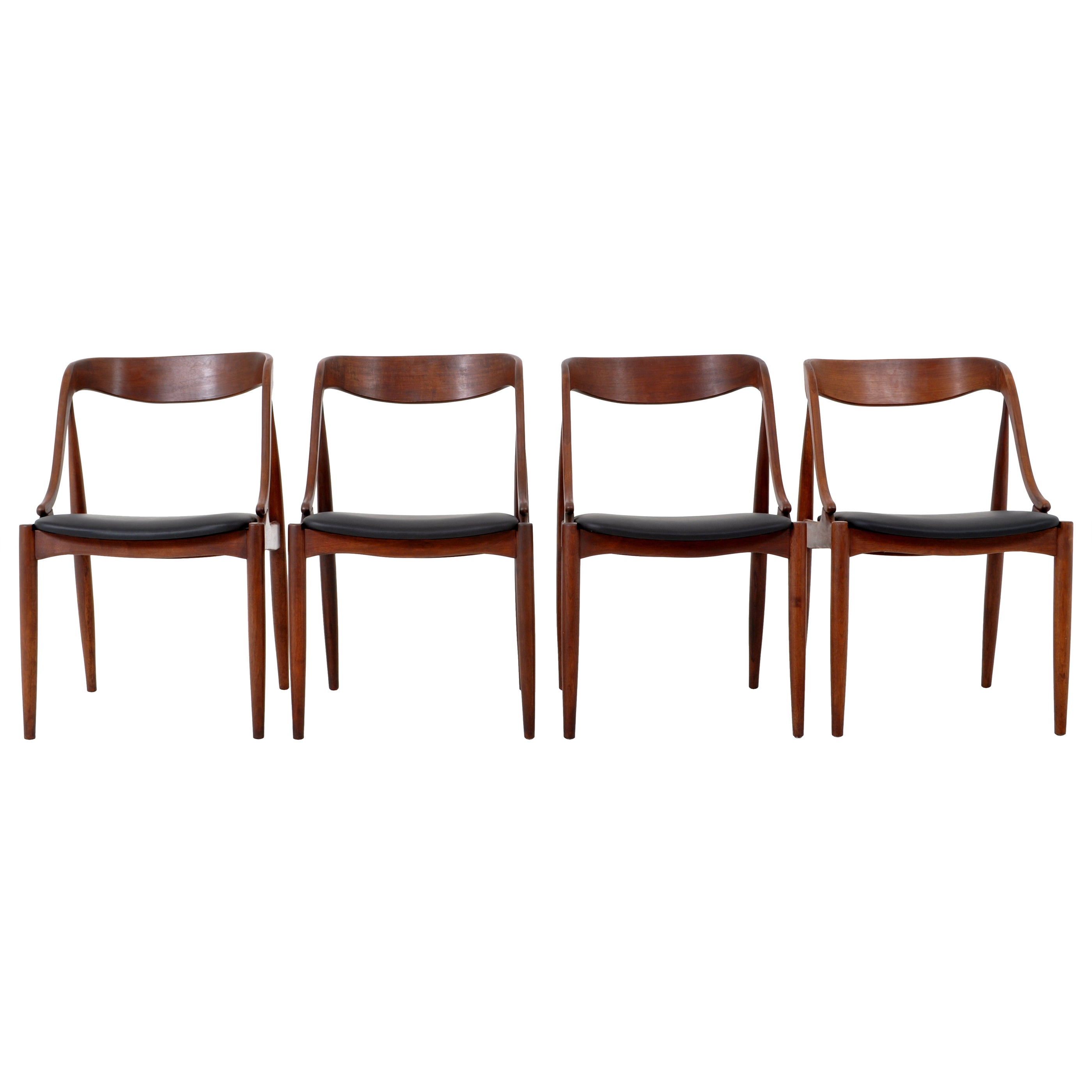 Set of 4 Mid-Century Modern Danish Teak & Leather Dining Chairs, 1960s