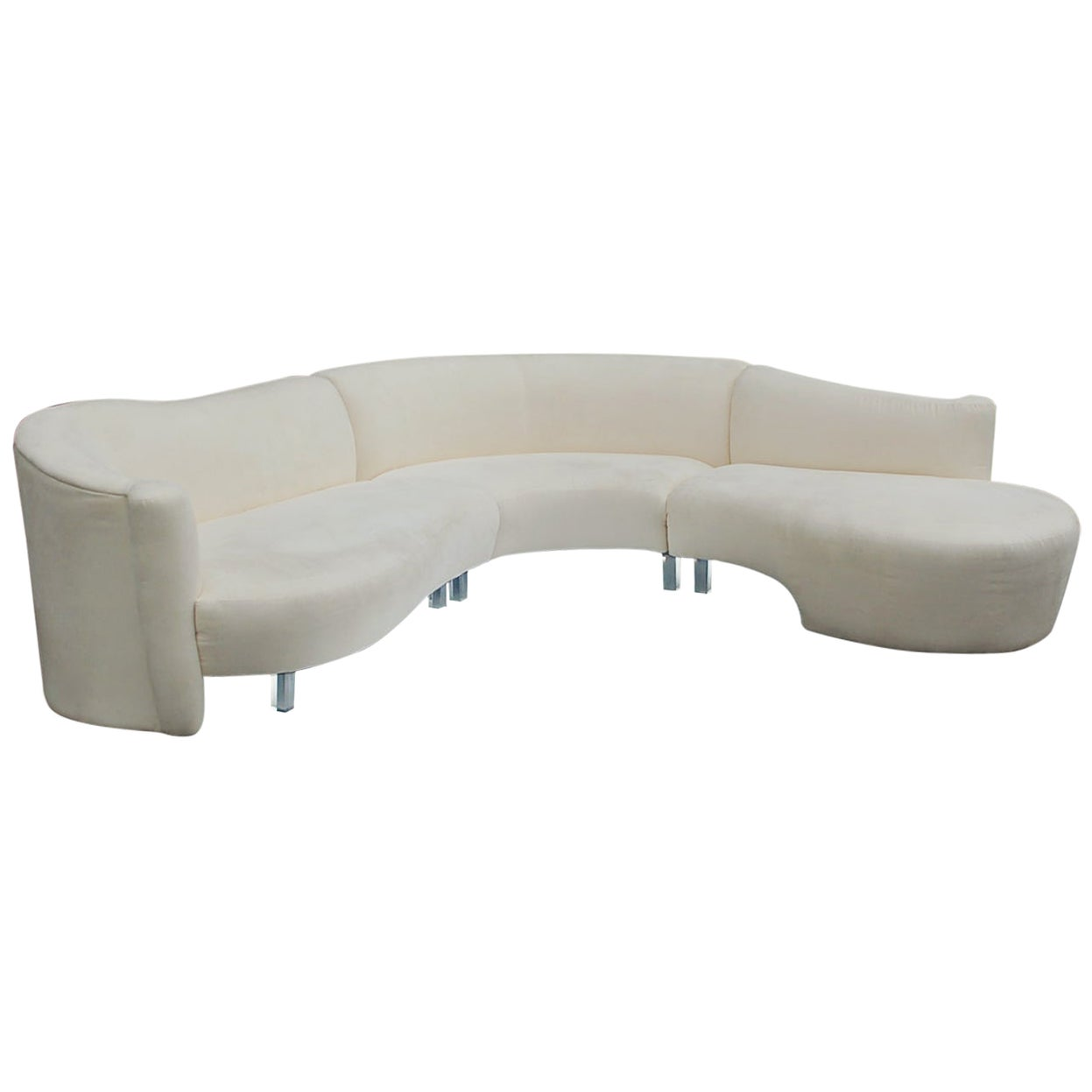 Mid-Century Modern White Serpentine Sectional Sofa by Weiman