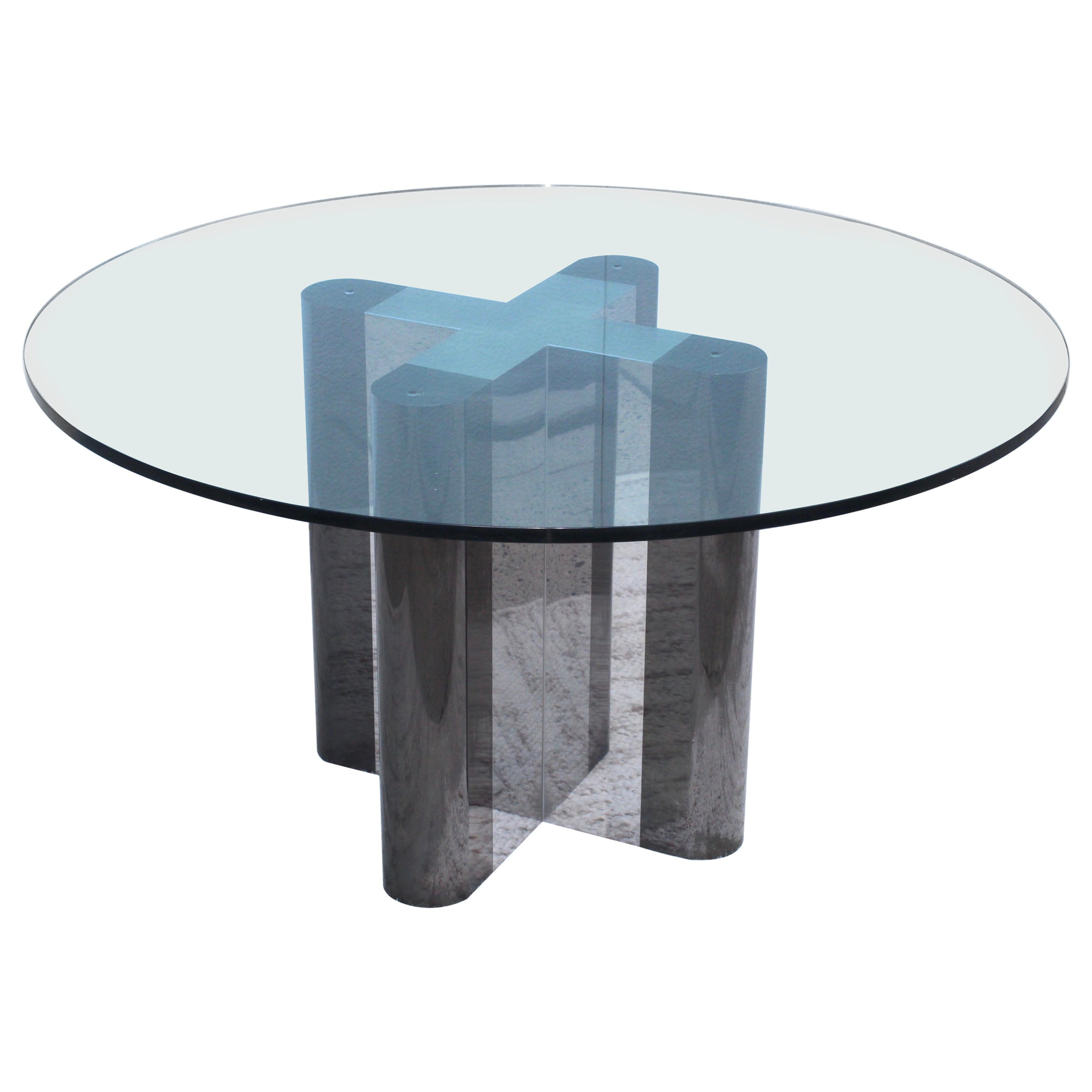 1970s Custom Made Chrome Dining Table with Glass Top