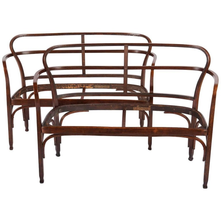 Vienna Secession J. J. Kohn 717 Settee by Gustav Siegel For Sale