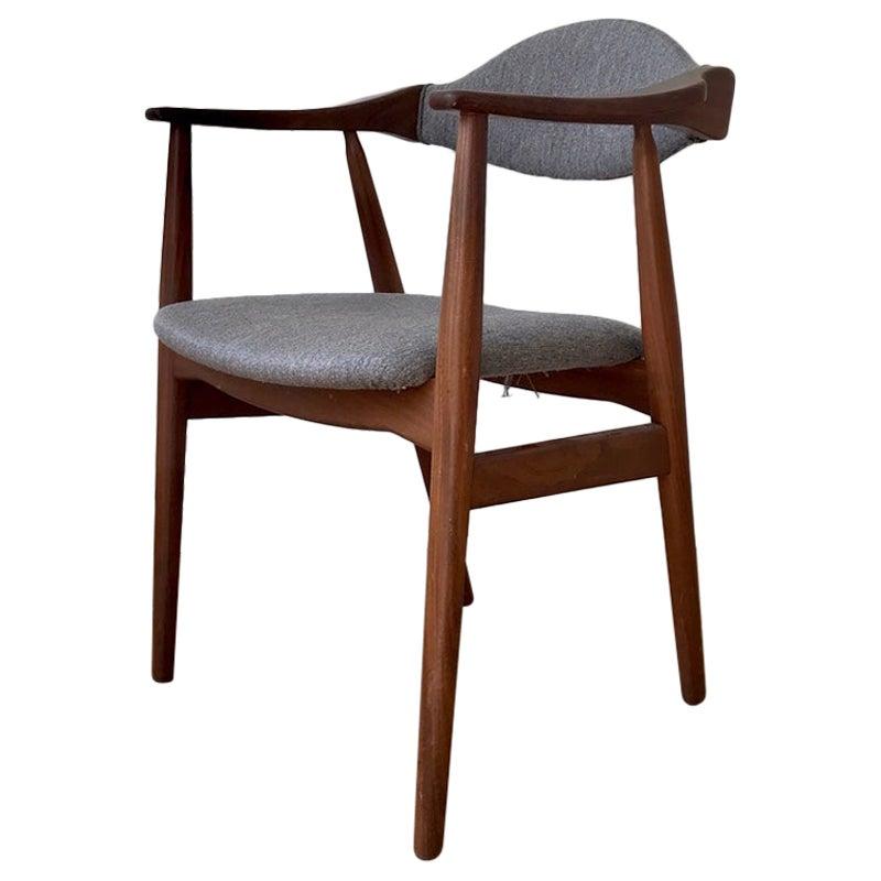 Danish Modern Armchair in Teak and Grey Wool from Farstrup, 1960s
