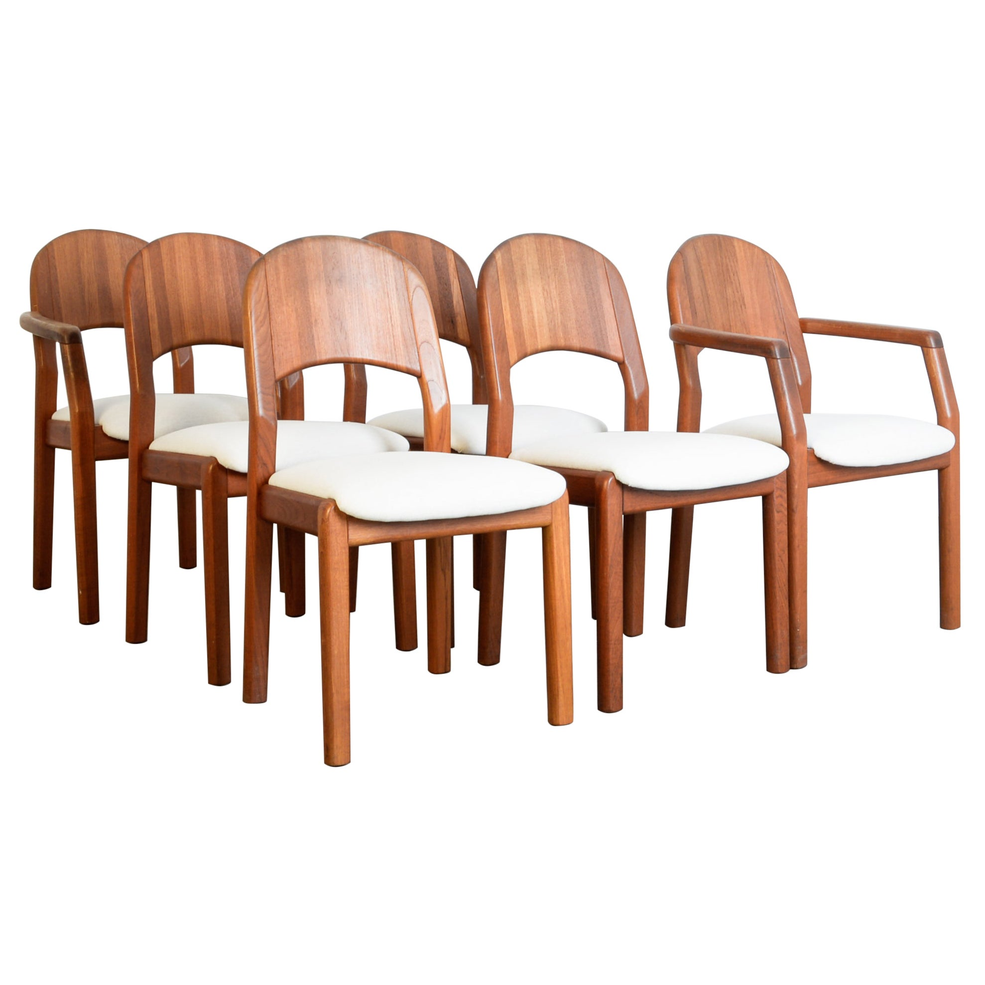 1970s Danish Teak Upholstered Dining Chairs, Set of Six