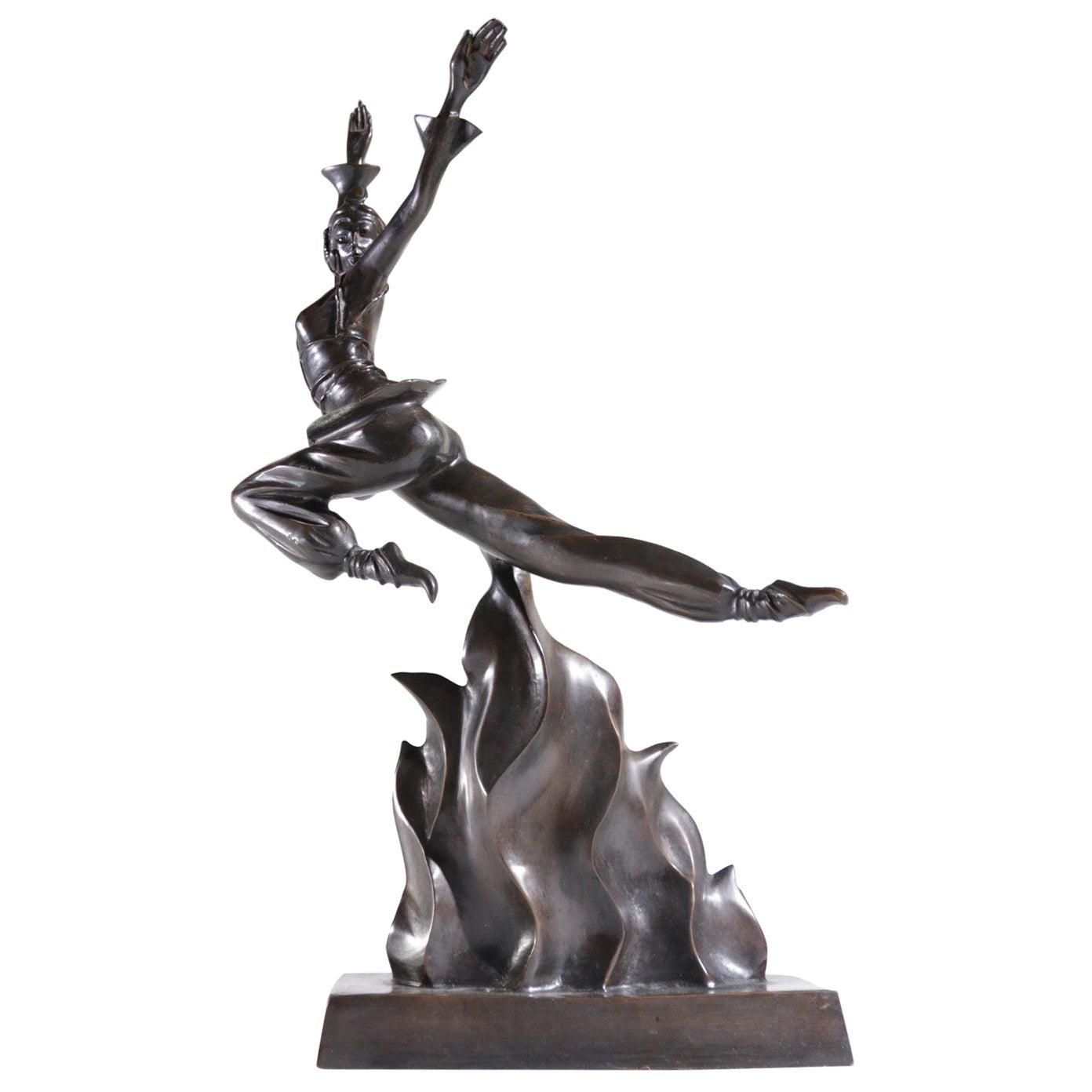 Powerful Art Deco Bronze Sculpture of a Woman, J. Moigniez, circa 1930