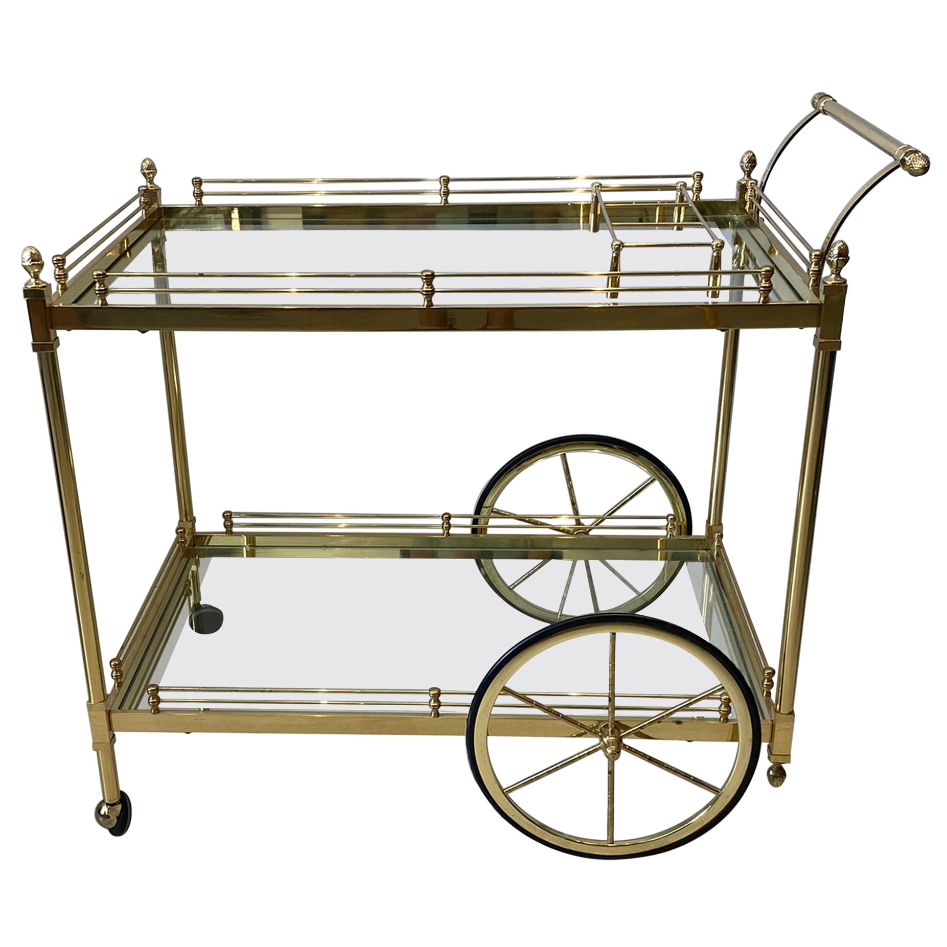Brass And Glass Bar Cart For Sale At 1stdibs